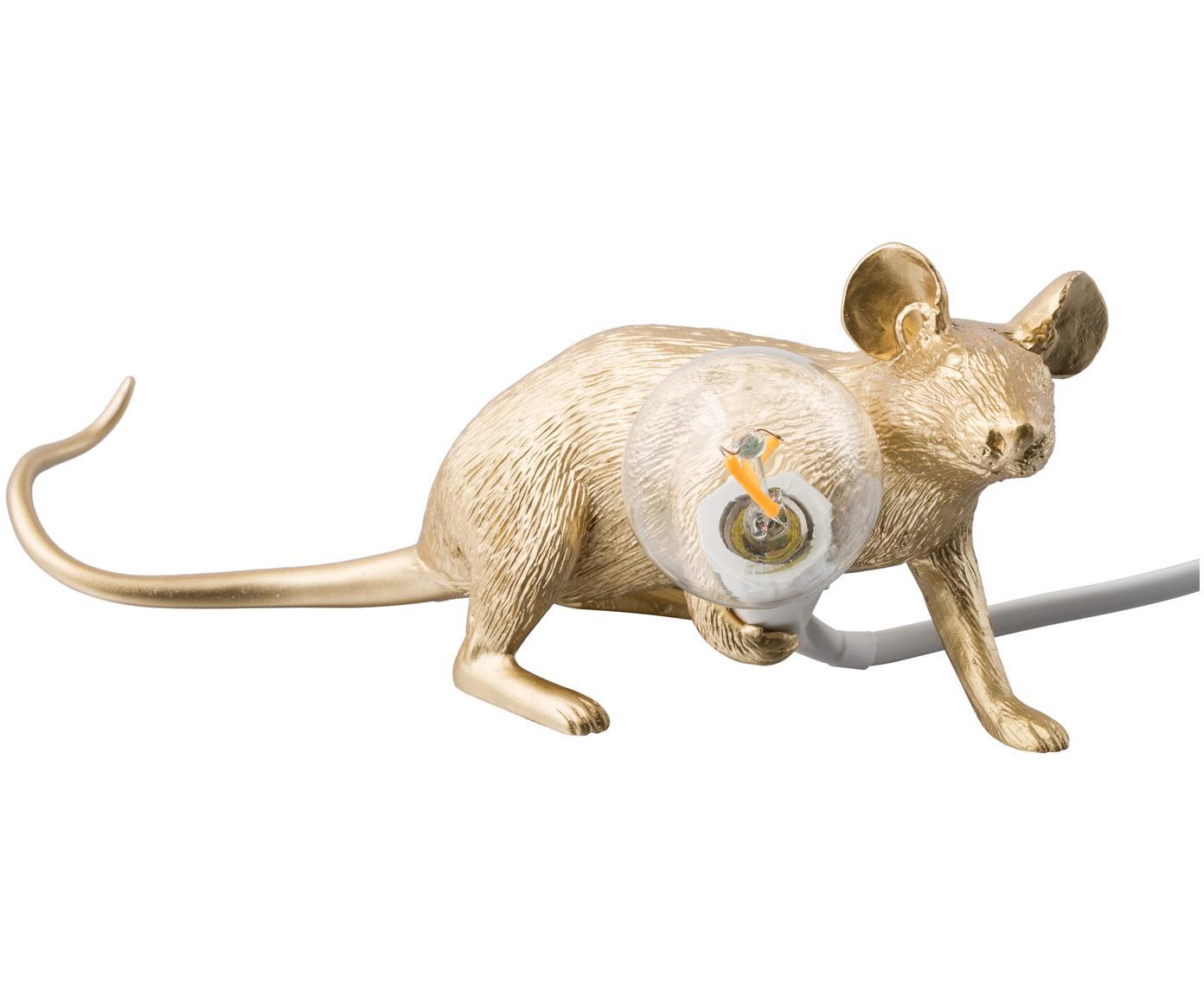 Design Tischleuchte Mouse, Kunstharz, Goldfarben, 21 x 8 cm
