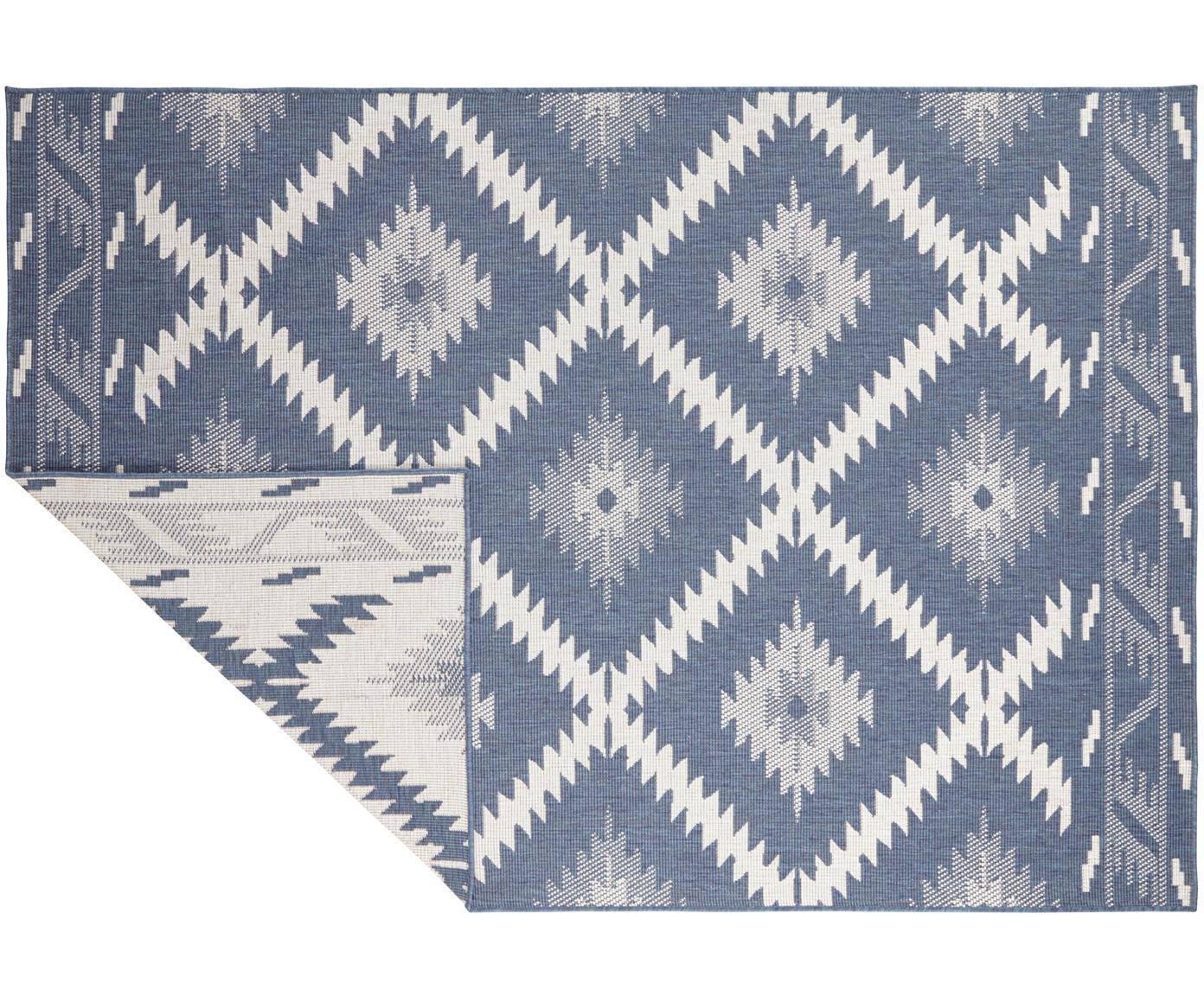 Dubbelzijdig in- en outdoor vloerkleed Malibu in blauw/crèmekleur, Blauw, crèmekleurig, B 120 x L 170 cm (maat S)