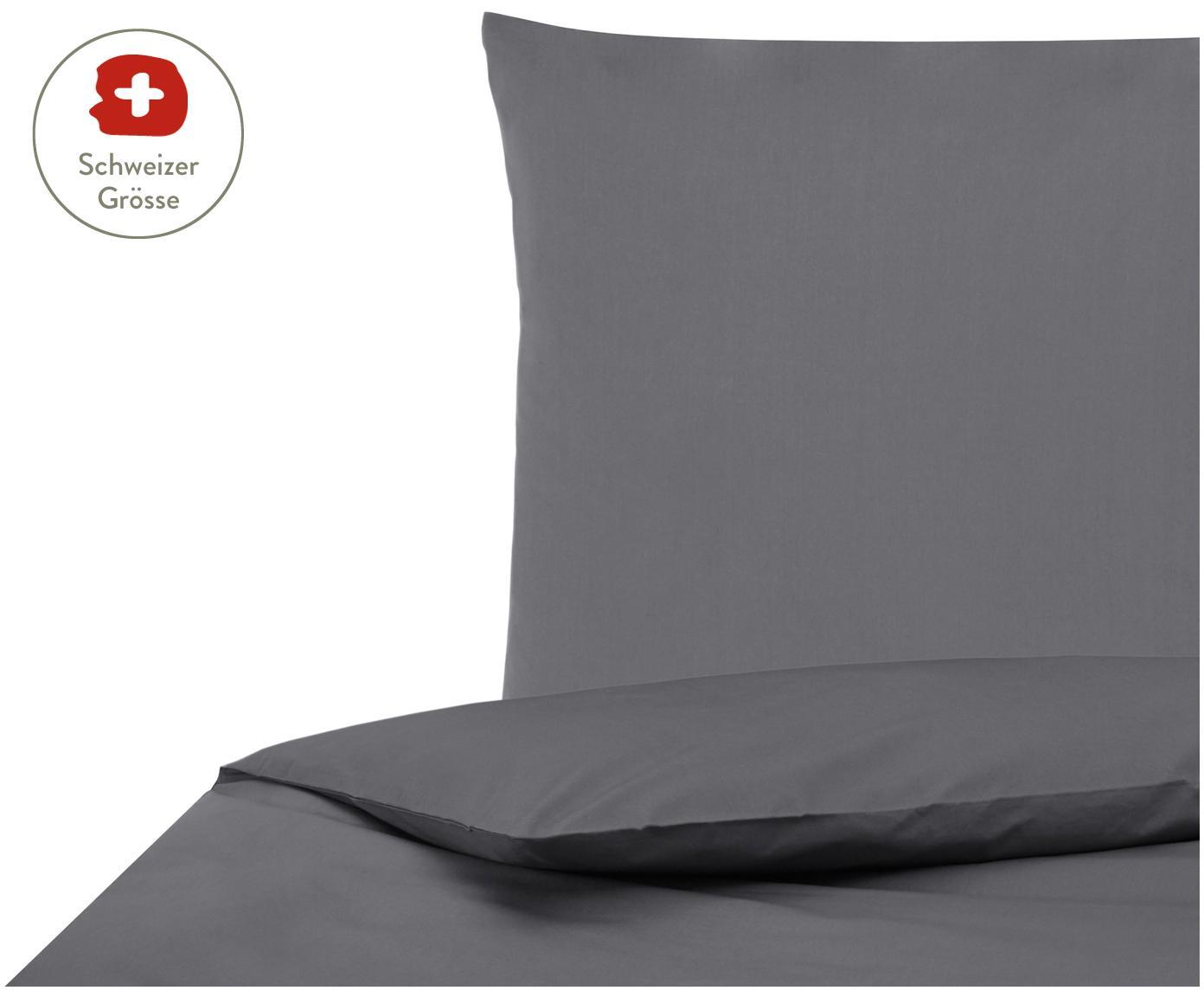 Baumwollperkal-Bettdeckenbezug Elsie in Dunkelgrau, Webart: Perkal Fadendichte 200 TC, Dunkelgrau, 160 x 210 cm