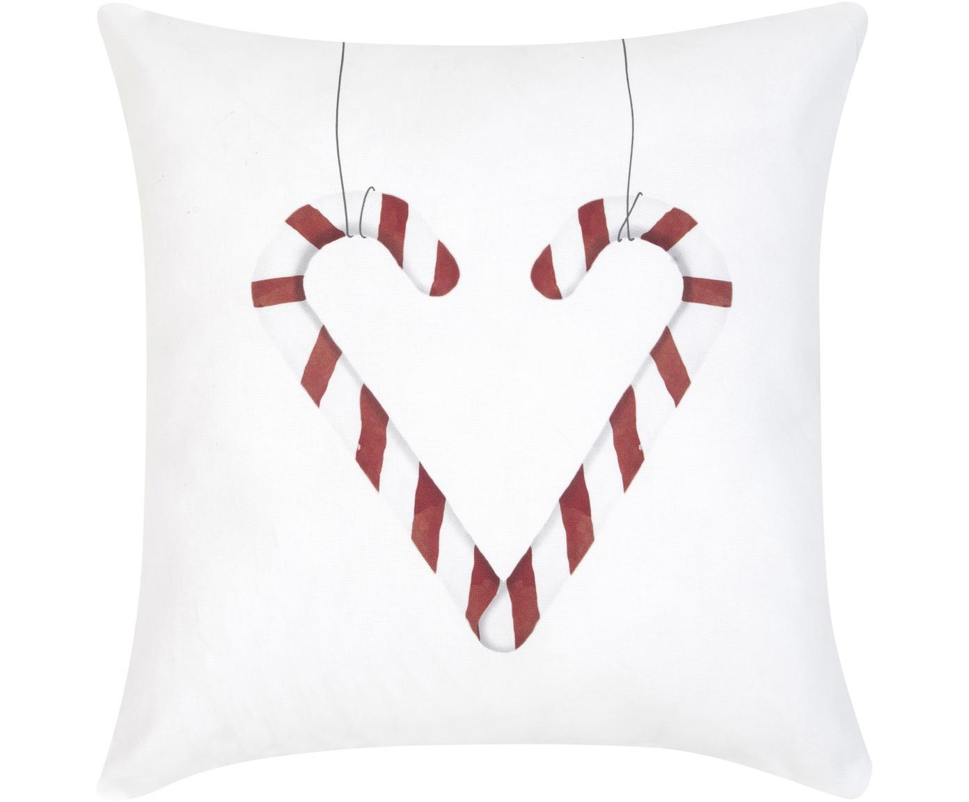 Kissenhülle Cupid mit Zuckerstangenherz, Baumwolle, Rot, Schwarz, Weiß, 40 x 40 cm