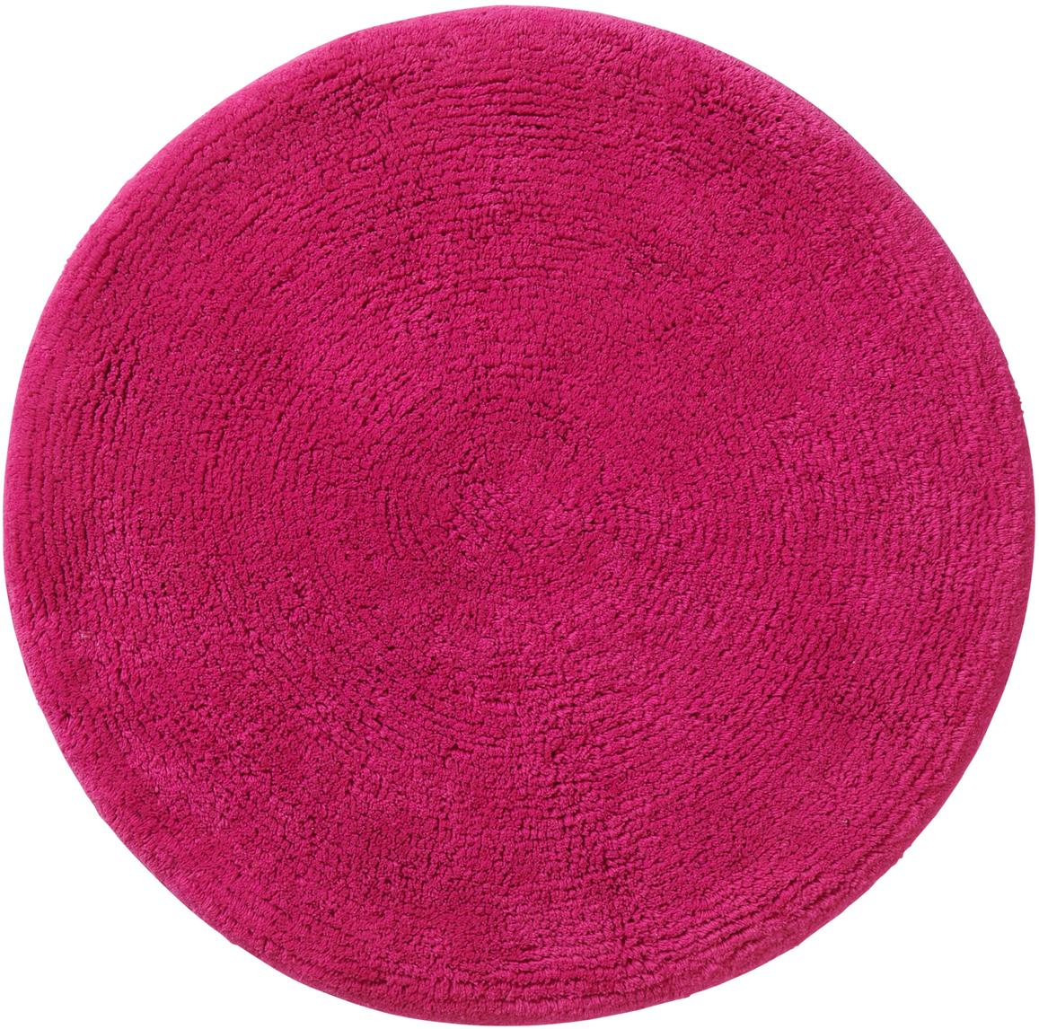Runder Badvorleger Emma, 100% Baumwolle, Pink, Ø 90 cm
