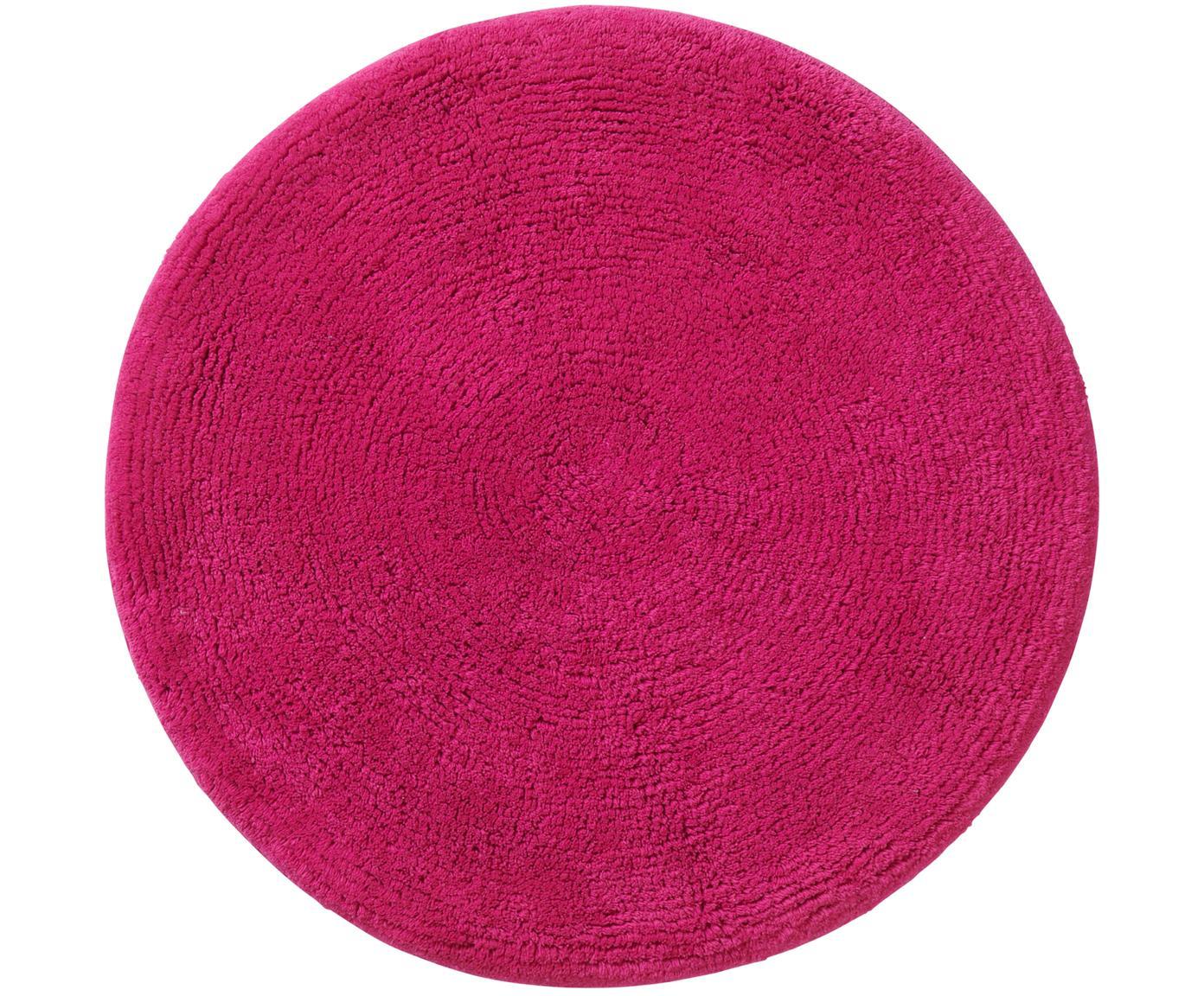Tappeto bagno rotondo Emma, 100% cotone, Rosa, Ø 90 cm