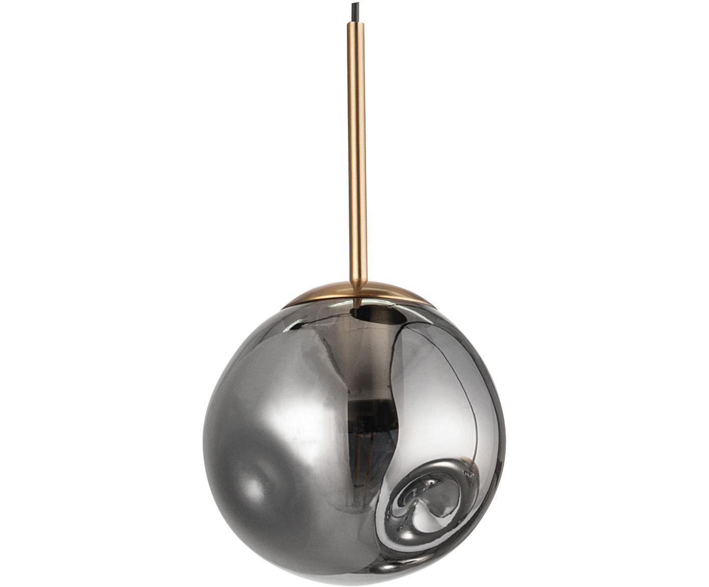 Kleine hanglamp Spada van glas, Lampenkap: glas, Baldakijn: kunststof, Messingkleurig, grijs, Ø 15 x H 180 cm