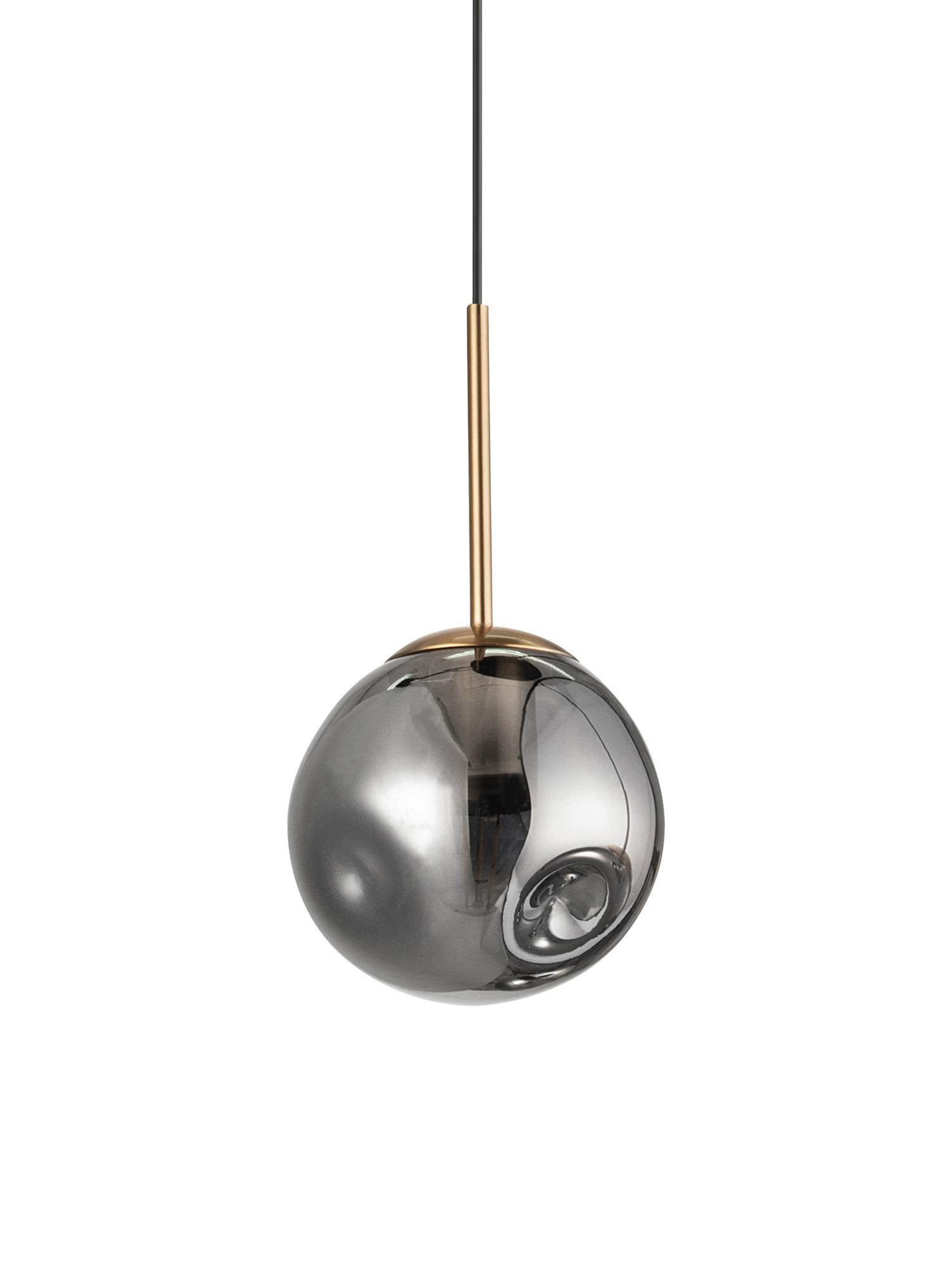 Mała lampa wisząca ze szkła Spada, Odcienie mosiądzu, szary, Ø 15 x W 180 cm