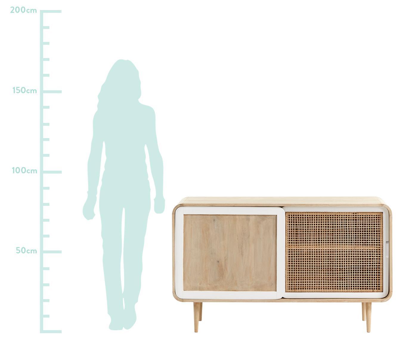 Komoda Georg  z drewna mangowego, Korpus: drewno mangowe, masywne, , Drewno mangowe, biały, S 135 x W 80 cm