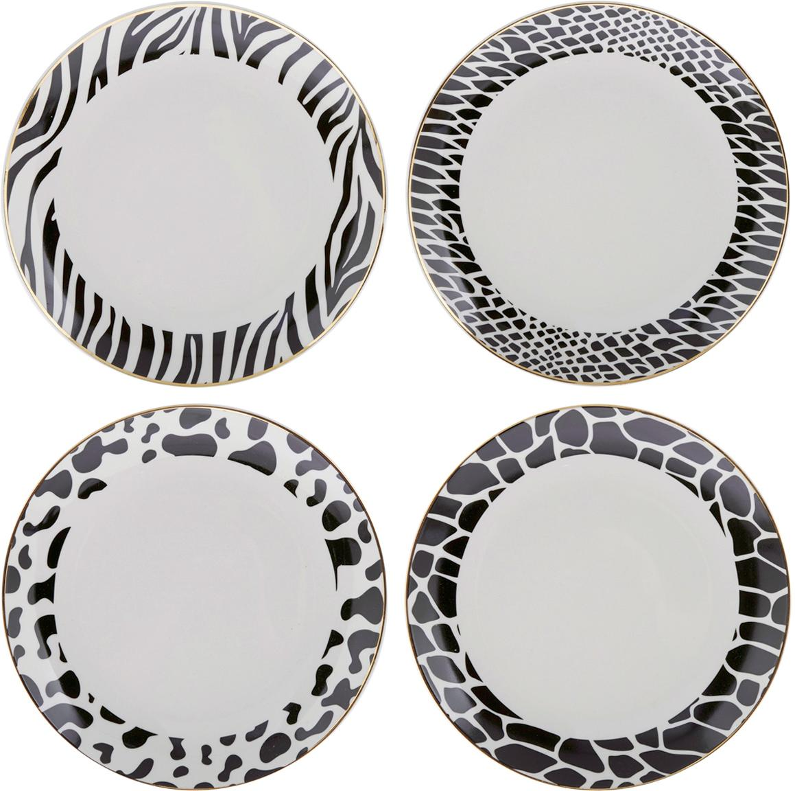 Frühstücksteller Wild Jungle, 4er-Set, Porzellan, Schwarz, Weiß, Ø 19 cm
