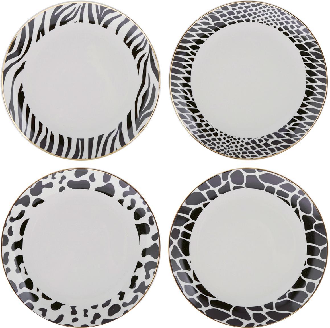 Set 4 piatti da dessert Wild Jungle, Porcellana, Nero, bianco, Ø 19 cm