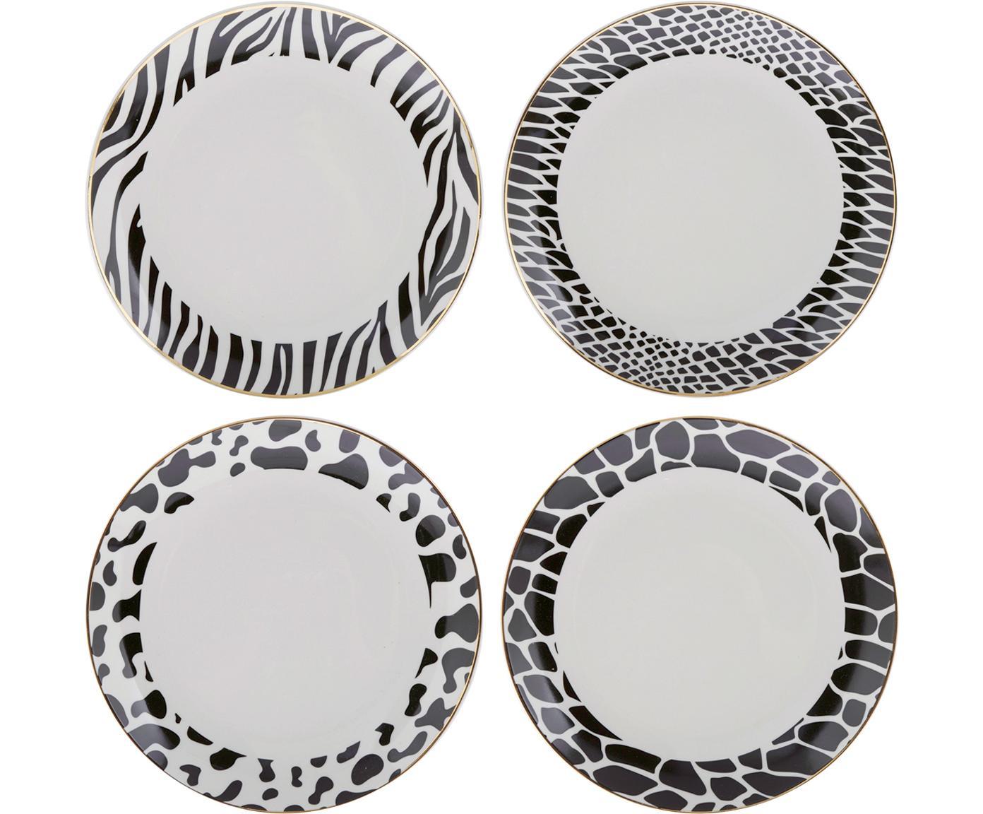 Frühstücksteller-Set Wild Jungle, 4-tlg., Porzellan, Schwarz, Weiß, Ø 19 cm