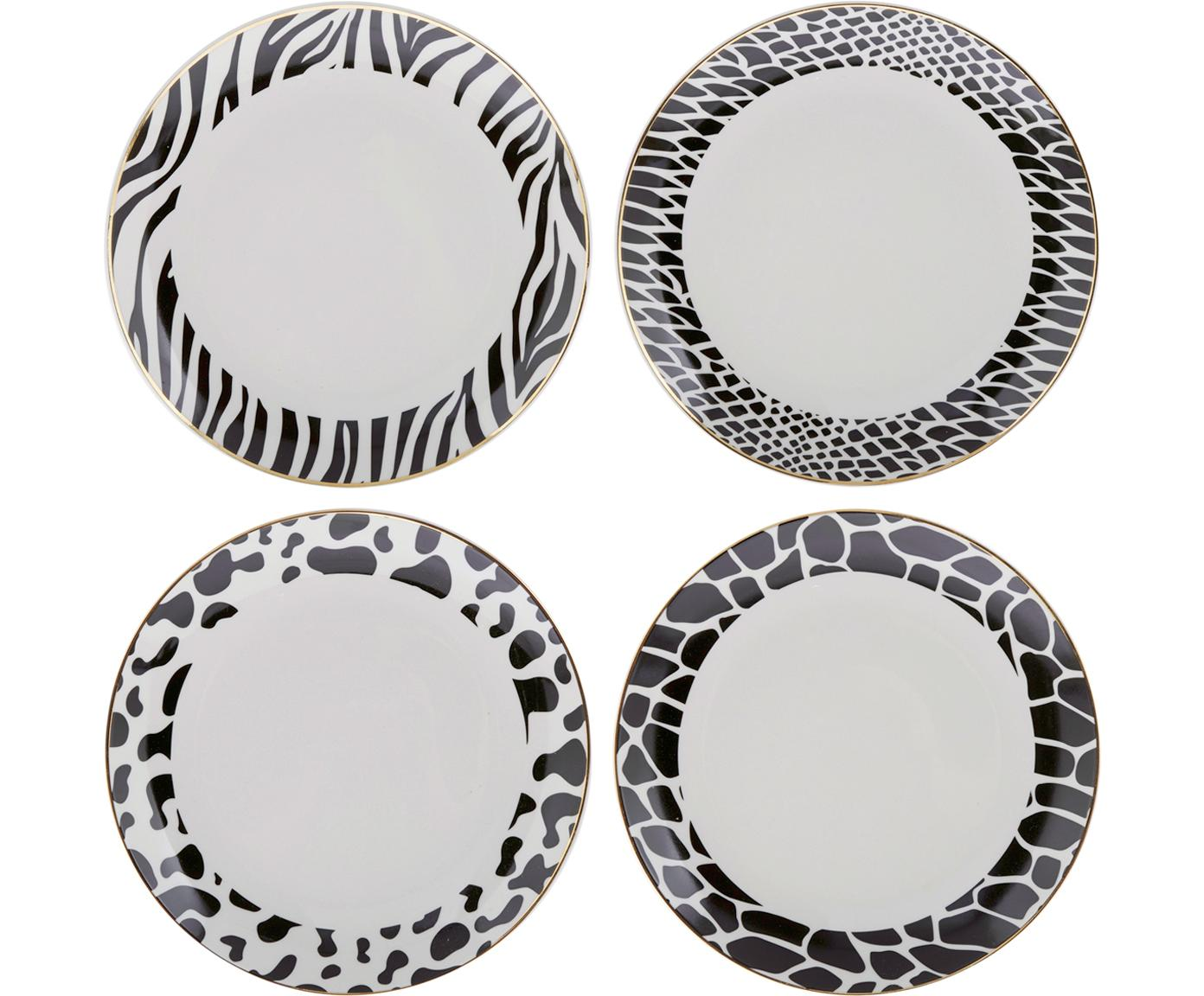 Set de platos de postre Wild Jungle, 4pzas., Porcelana, Blanco con manchas negras, Ø 19 cm