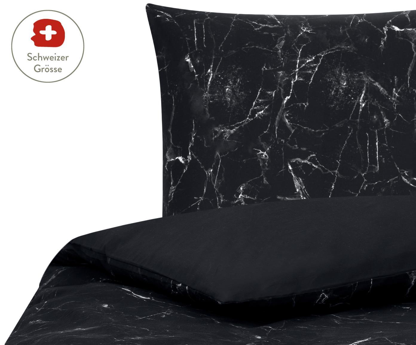 Wendebettdeckenbezug Malin mit Marmor-Muster, Webart: Perkal Fadendichte 200 TC, Schwarz, Weiss, 160 x 210 cm