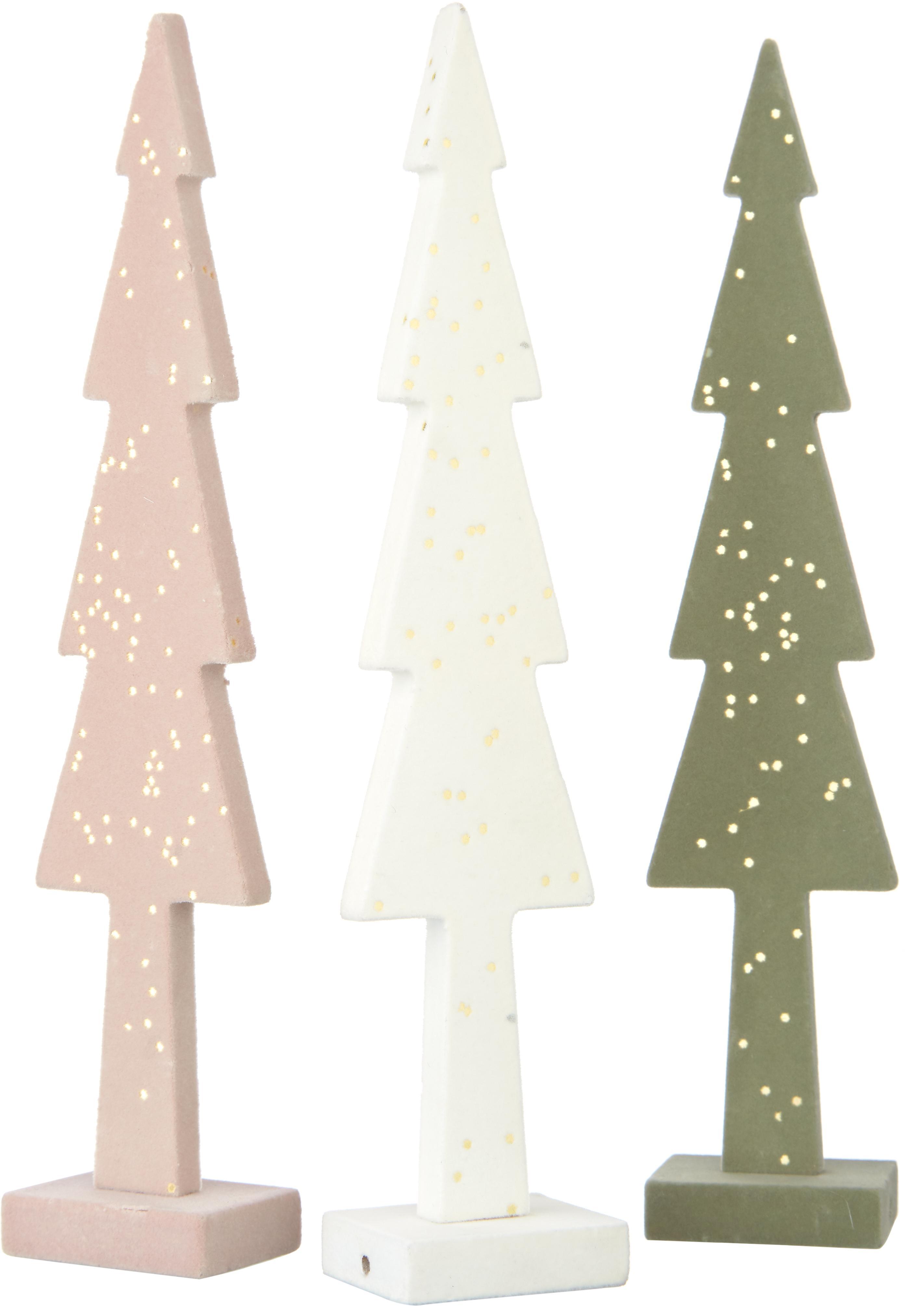 Decoratieve objectenset Pasti, 3-delig, MDF, textiel, Wit, lichtroze, groen, 5 x 27 cm