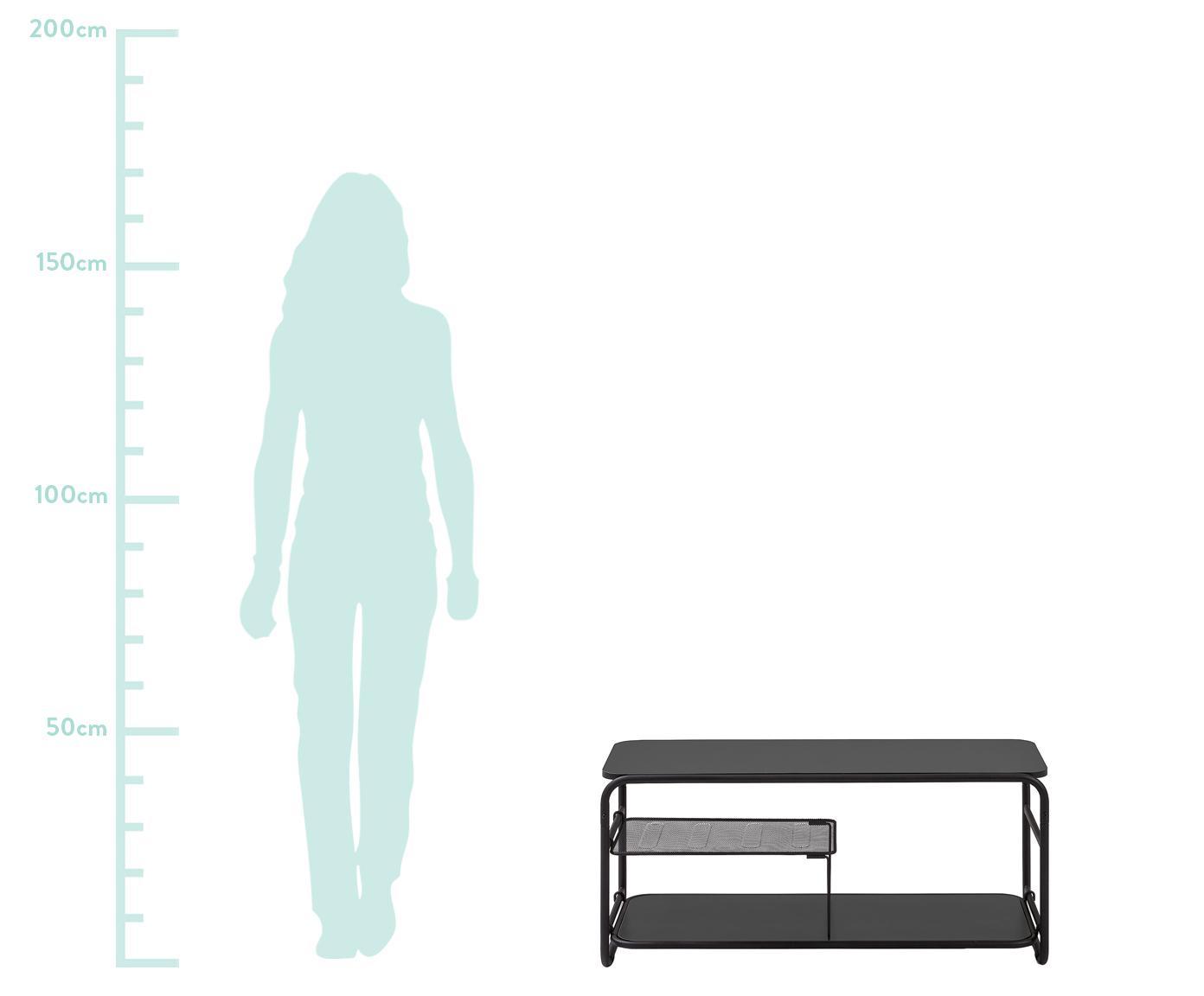 Tv-meubel Academy, Melamine, metaal, Zwart, 98 x 46 cm