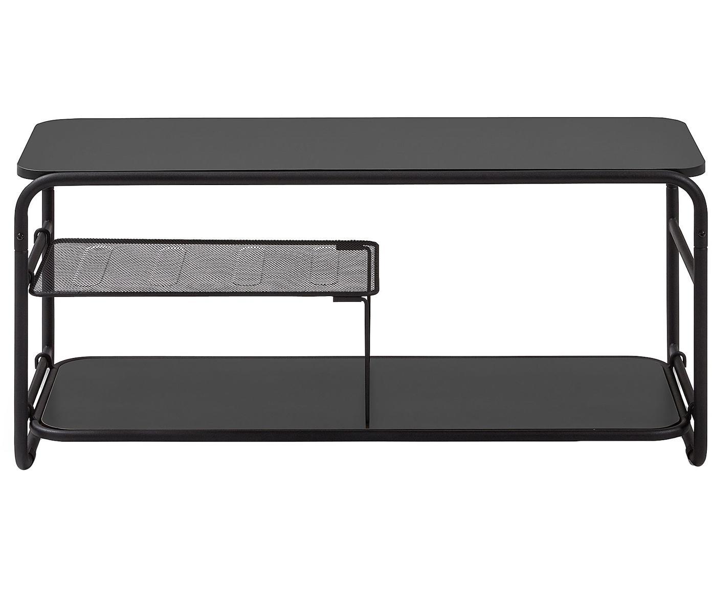 Schwarze TV-Konsole Academy aus Metall, Melamin, Metall, Schwarz, 98 x 46 cm