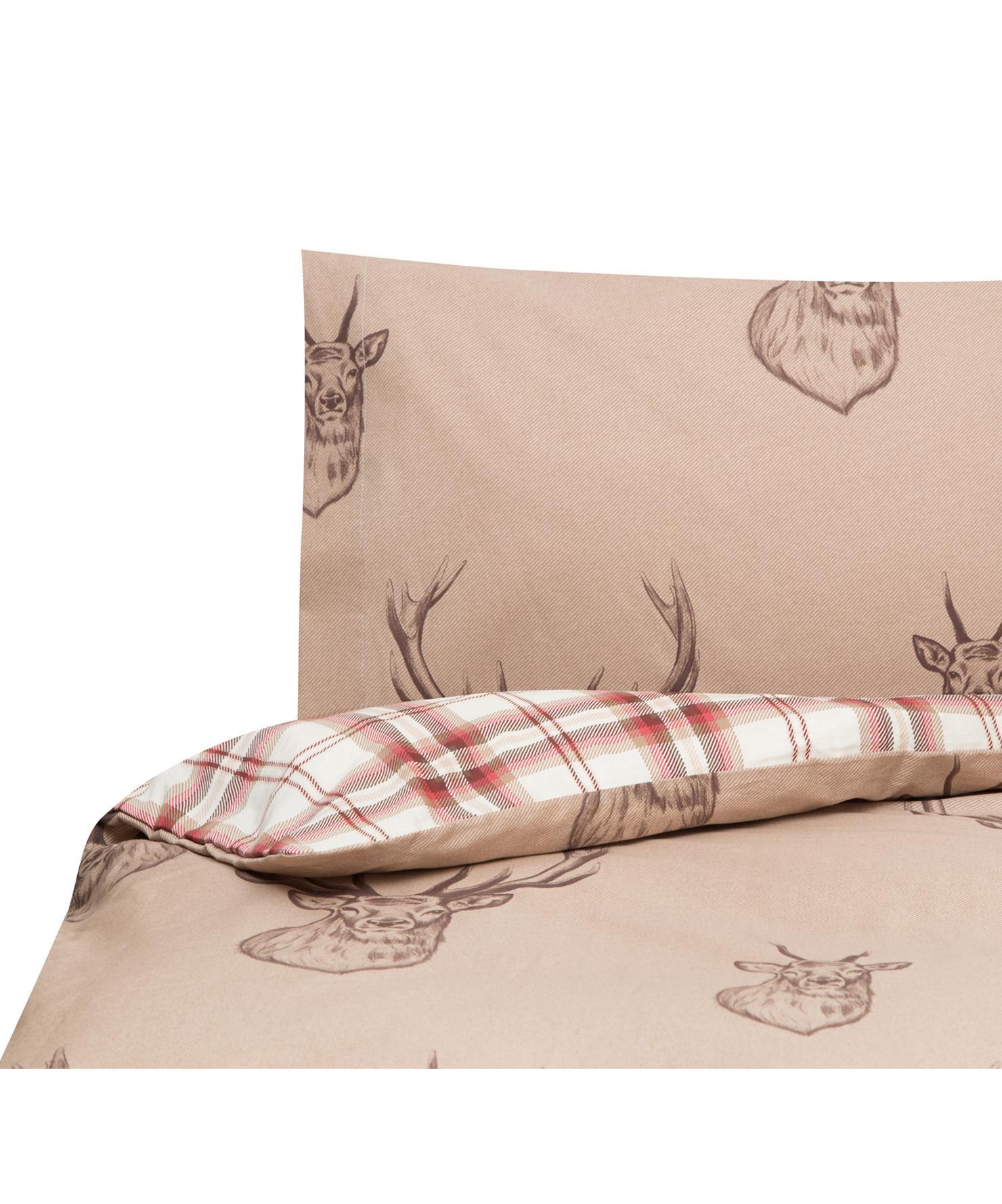Funda nórdica Stags, Algodón, Tonos beige, rojo, blanco, Cama 90 cm (160 x 220 cm)
