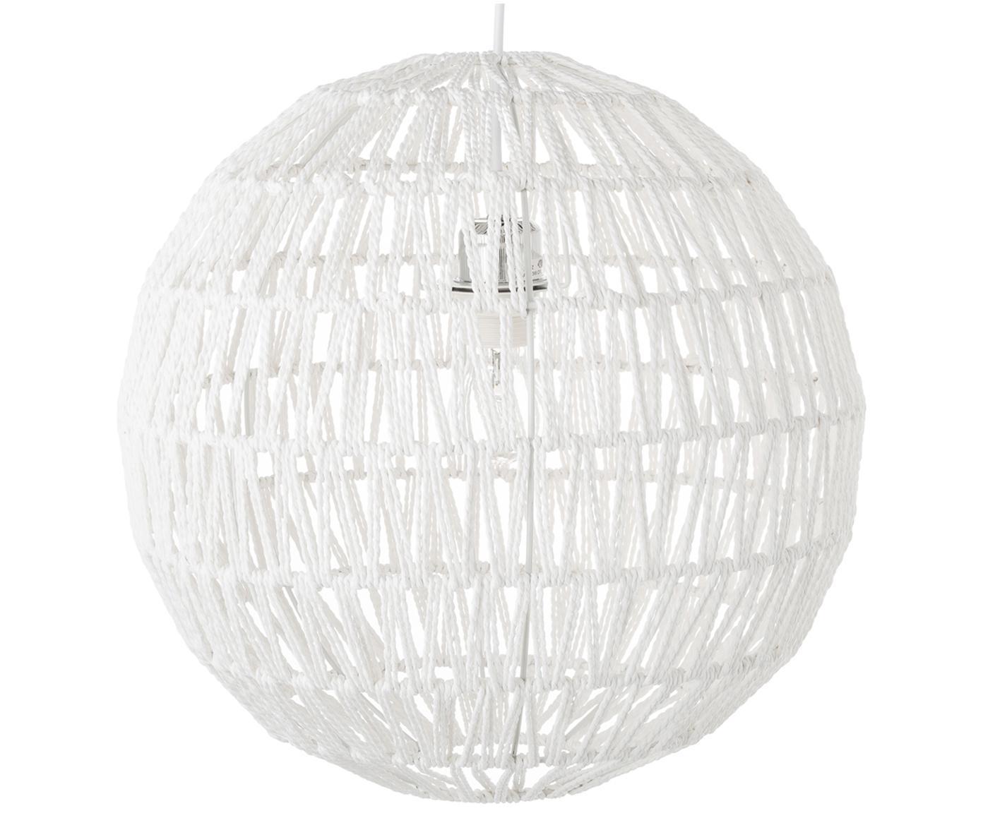 Lámpara de techo de papel Cable Drop, Metal, tela, Blanco, Ø 40 x Al 40 cm