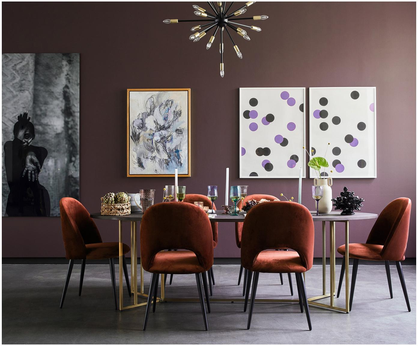 Fluwelen stoel Rachel, Bekleding: fluweel (hoogwaardig poly, Poten: gepoedercoat metaal, Fluweel bruin, B 53 x D 57 cm