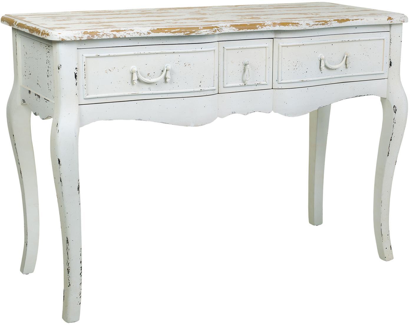 Consola de madera de abeto Laros, Blanco, An 115 x Al 80 cm