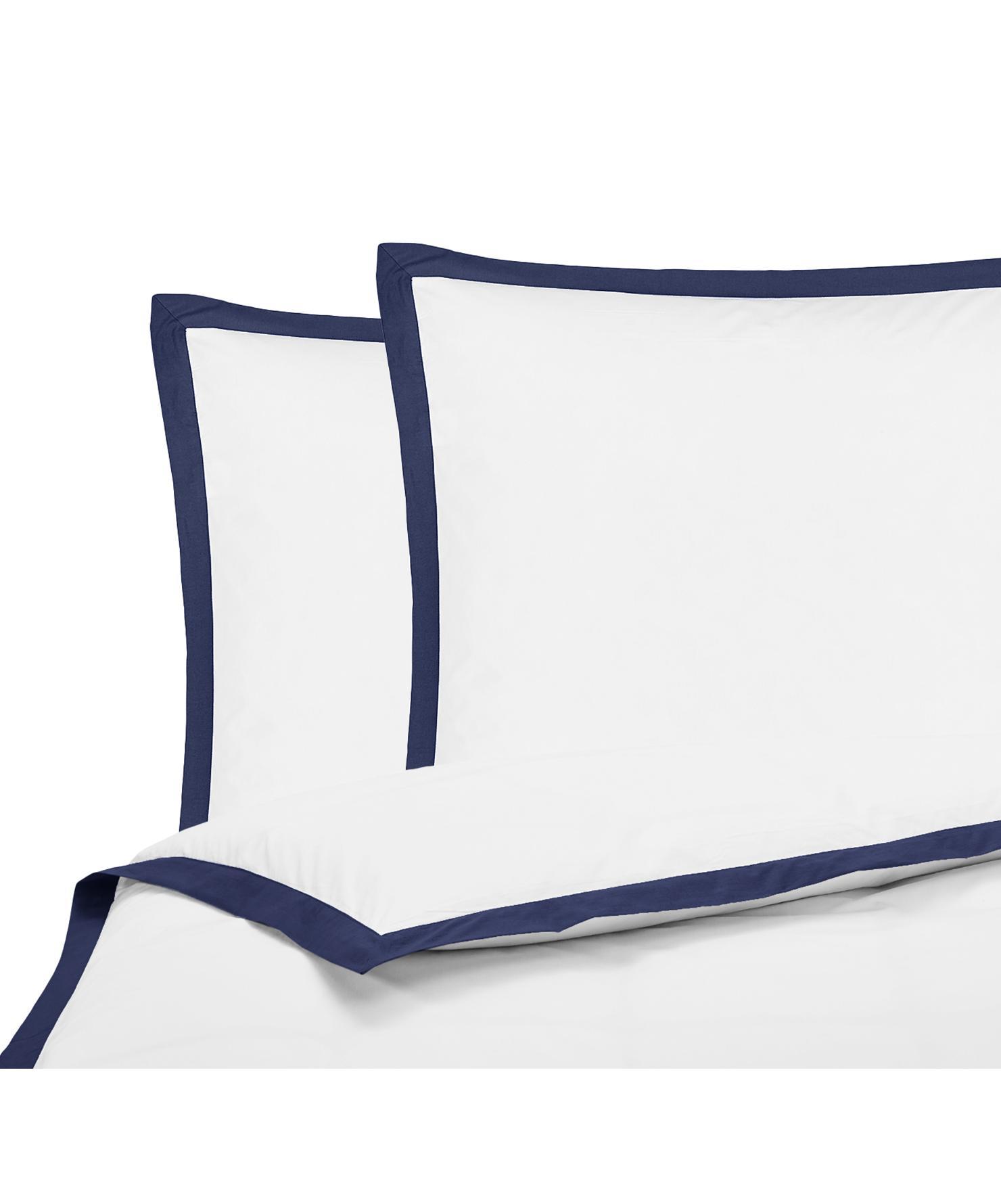 Baumwollperkal-Bettwäsche Joanna in Weiß mit blauem Stehsaum, Webart: Perkal Fadendichte 200 TC, Weiß, Dunkelblau, 200 x 200 cm + 2 Kissen 80 x 80 cm