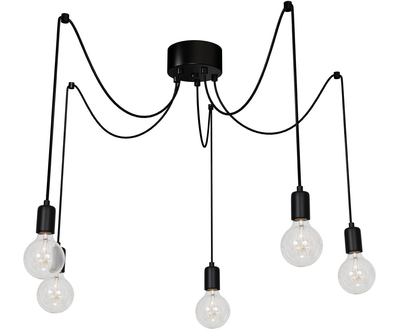 Lámpara de techo Spindel, Cable: cubierto en tela, Negro, Ajustable individualmente