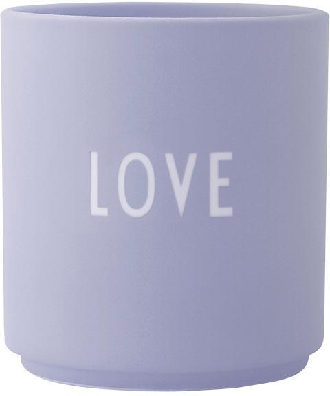 Design Becher Favourite LOVE in Lila mit Schriftzug, Fine Bone China (Porzellan), Lila, Weiß, Ø 8 x H 9 cm