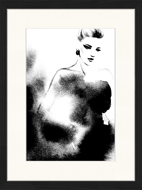 Oprawiony druk cyfrowy Fashion, Czarny, biały, S 33 x W 43 cm