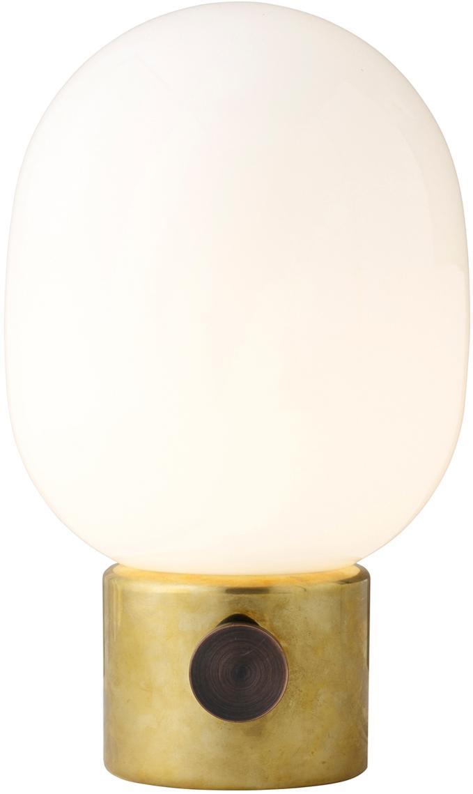 Kleine Dimmbare Tischlampe Mine aus Glas, Lampenschirm: Glas, Lampenfuss: Messing, Stahl, poliert<br>Lampenschirm: Weiss, Ø 17 x H 29 cm
