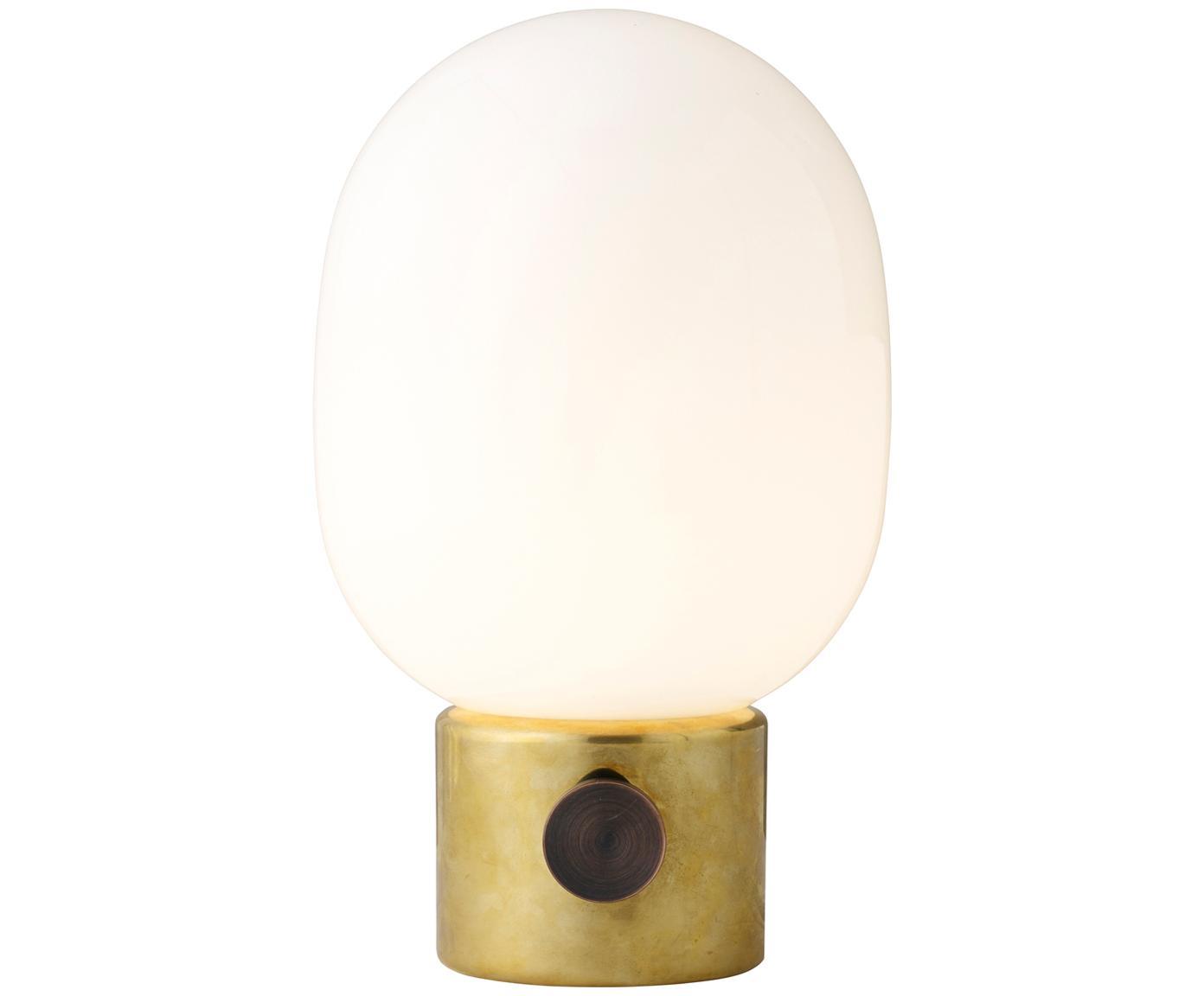 Kleine Tischlampe Mine mit Messingfuß, Lampenfuß: Messing, Stahl, poliert, Lampenschirm: Glas, Lampenfuß: Messing, Stahl, poliert<br>Lampenschirm: Weiß, Ø 17 x H 29 cm