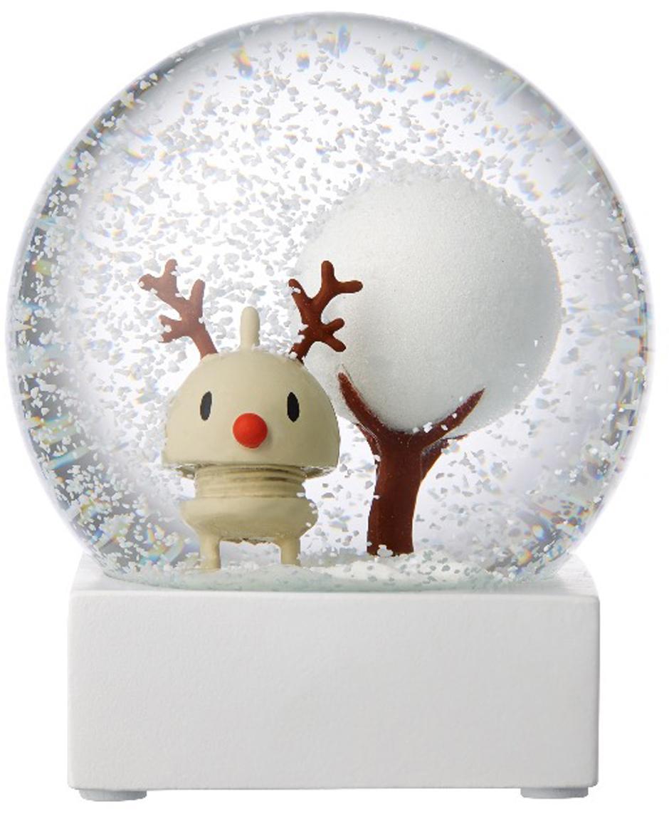Bola de nieve Rudolf, Blanco, transparente, Ø 10 x Al 12 cm