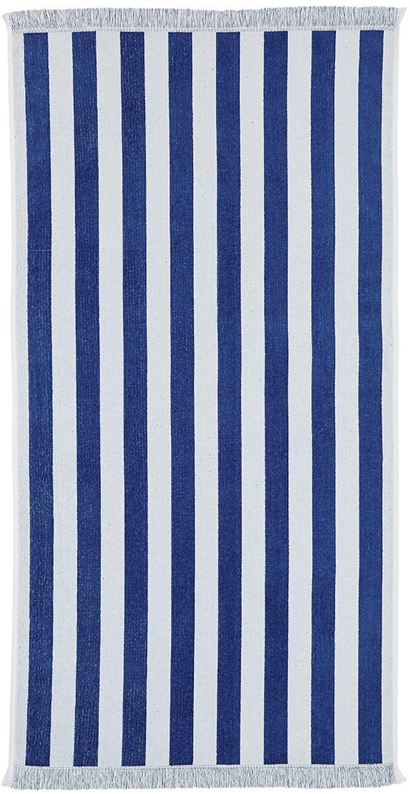 Gestreiftes Strandtuch Mare, 100% Baumwolle leichte Qualität 380 g/m², Blau, Weiss, 80 x 160 cm