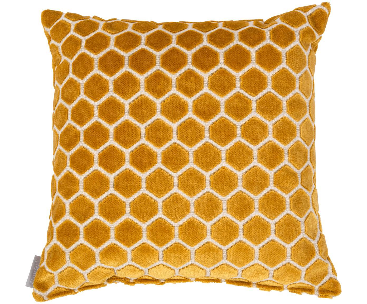 Kussen Monty met grafisch structuurpatroon, met vulling, Geel, wit, 45 x 45 cm