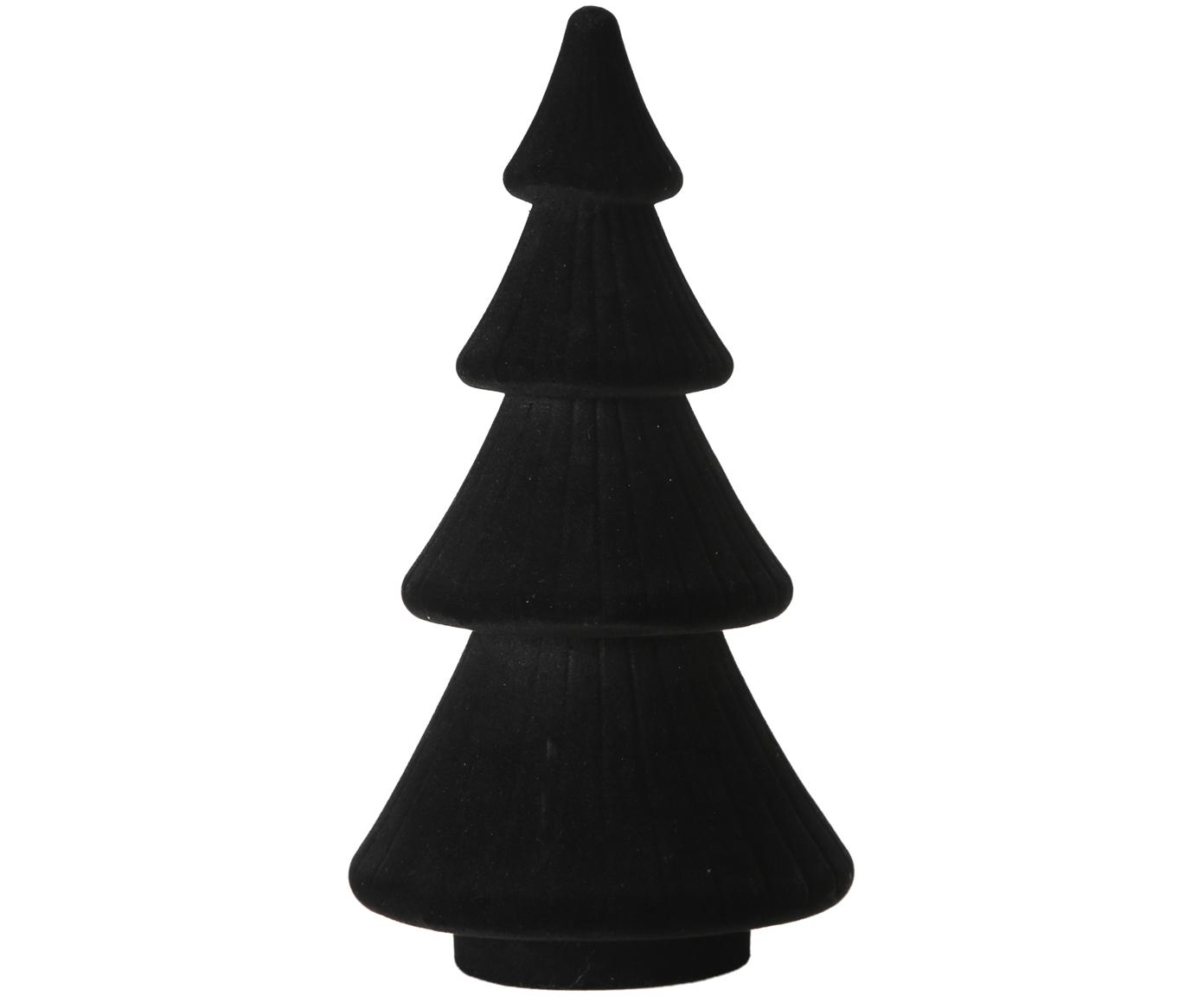 Samt-Deko-Objekt Sabina, Bezug: Samt, Gestell: Mitteldichte Holzfaserpla, schwarz, Ø 15 x H 30 cm