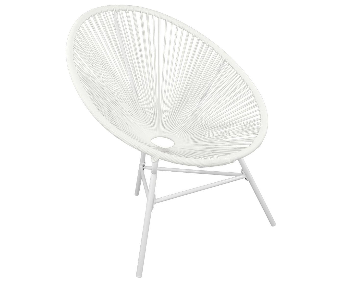 Retro fauteuil Bahia, Frame: Metaal, Zitvlak: Polyethyleen-vlechtwerk, Vlechtwerk: Wit. Frame: Wit poedercoating, 81 x 88 cm