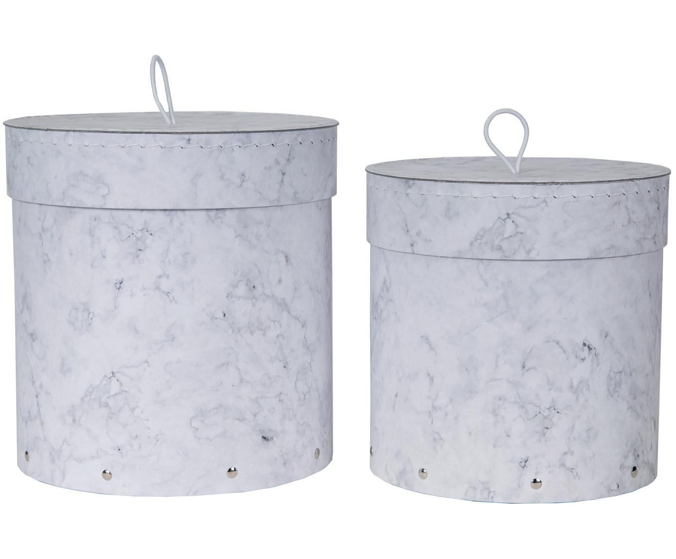 Aufbewahrungsboxen-Set Hanna, 2-tlg., Box: Fester, laminierter Karto, Griff: Gummi, Weiss, marmoriert, Verschiedene Grössen