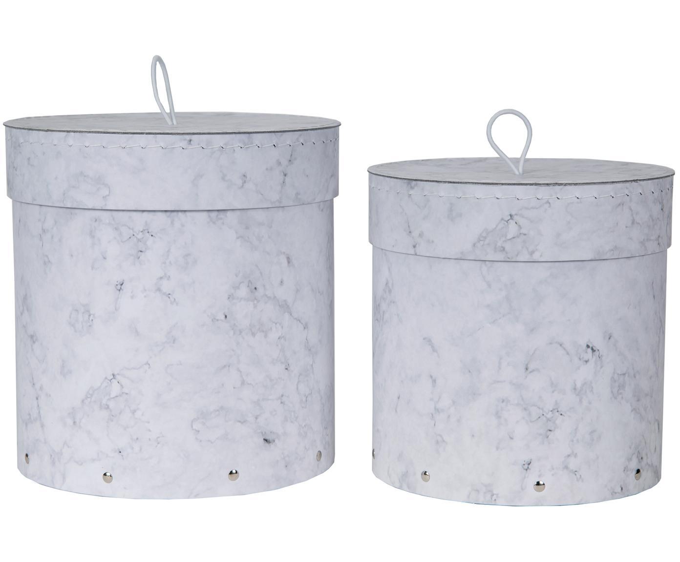 Set 2 scatole con coperchio Hanna, Scatola: solido, cartone laminato, Maniglia: gomma, Bianco, marmorizzato, Diverse dimensioni