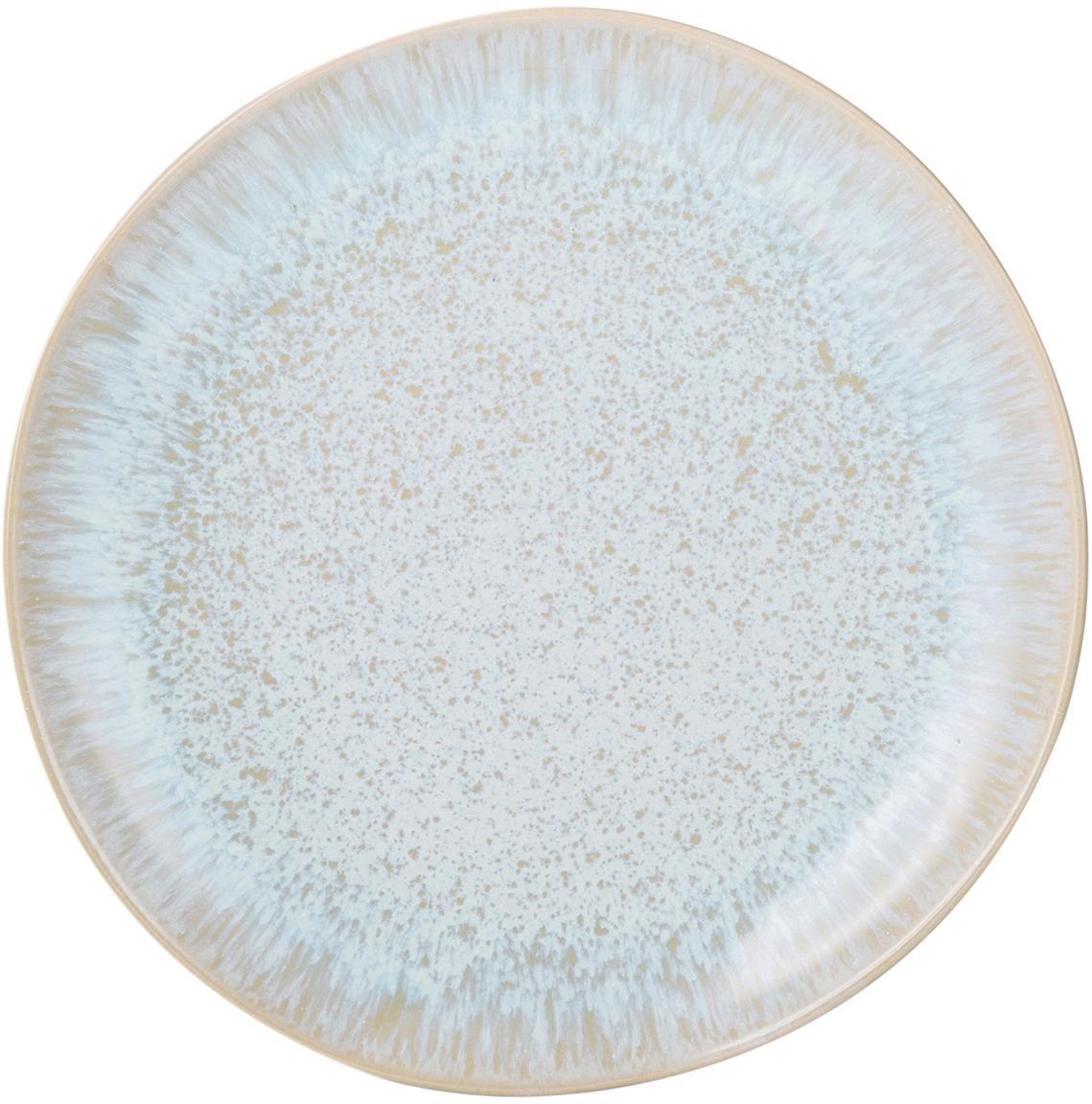 Handgeschilderde ontbijtborden Areia, 2 stuks, Keramiek, Lichtblauw, gebroken wit, lichtbeige, Ø 22 cm
