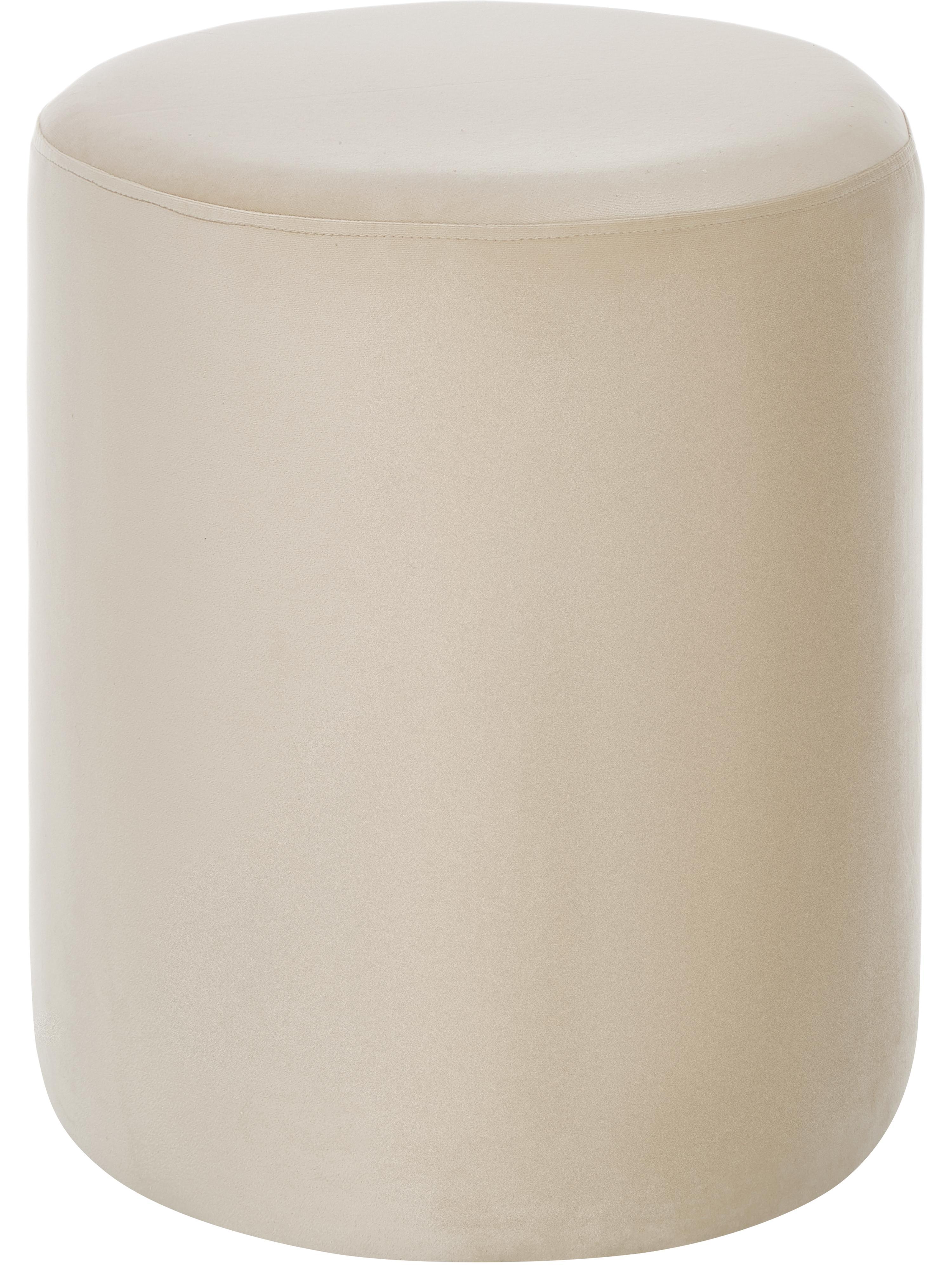 Samt-Hocker Daisy, Bezug: Samt (Polyester) Der hoch, Rahmen: Sperrholz, Samt Beige, Ø 38 x H 45 cm