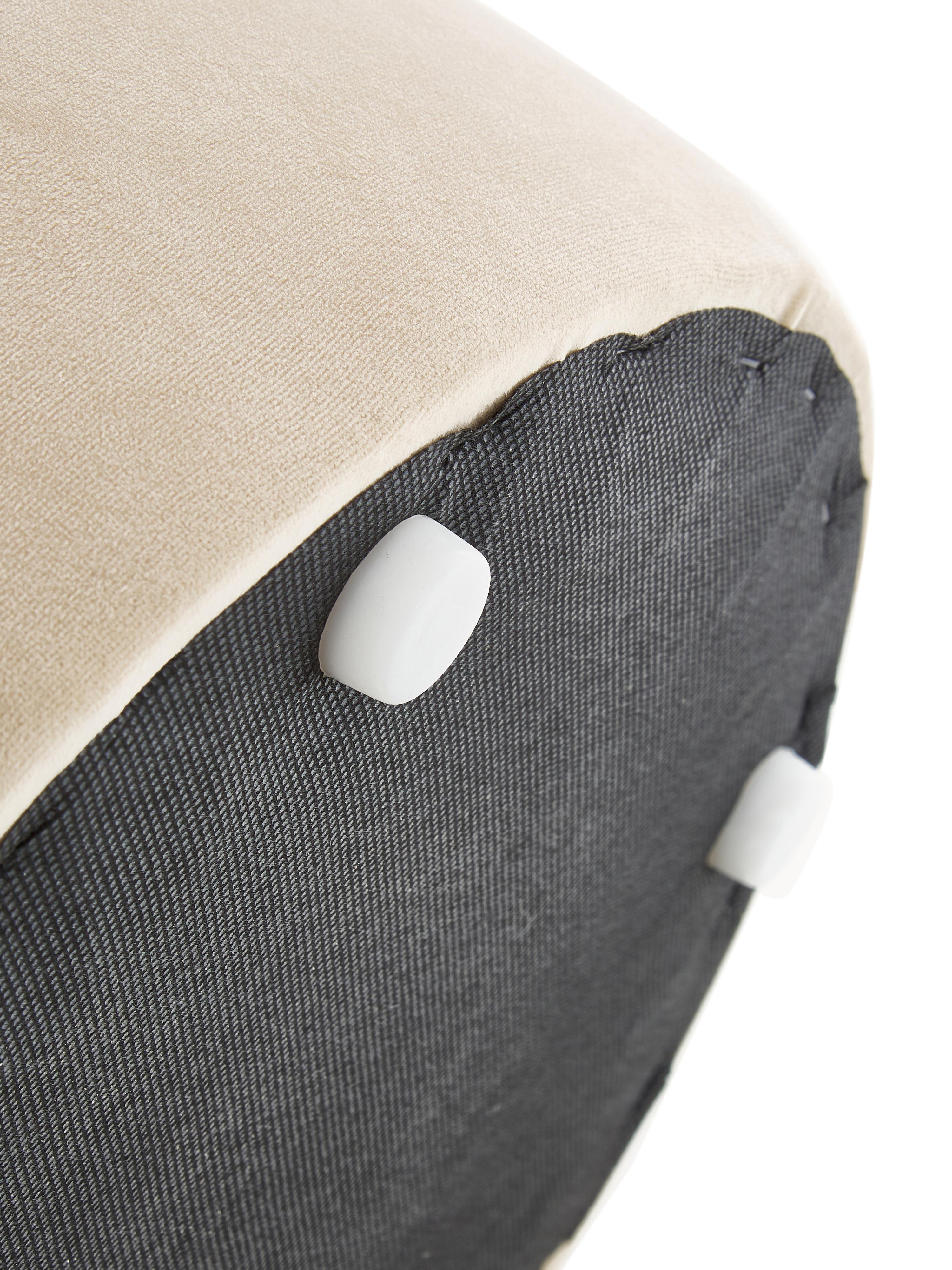 Samt-Hocker Daisy, Bezug: Samt (Polyester) 25.000 S, Rahmen: Sperrholz, Samt Beige, Ø 38 x H 45 cm
