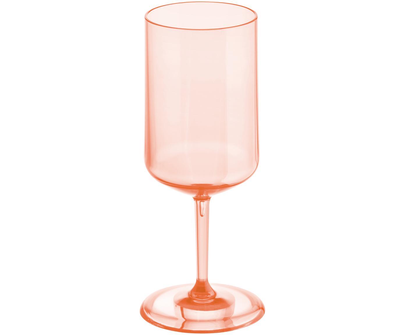 Bicchiere da vino bianco Cheers, Materiale sintetico termoplastico (Superglass), Rosa quarzo trasparente, Ø 9 x Alt. 21 cm