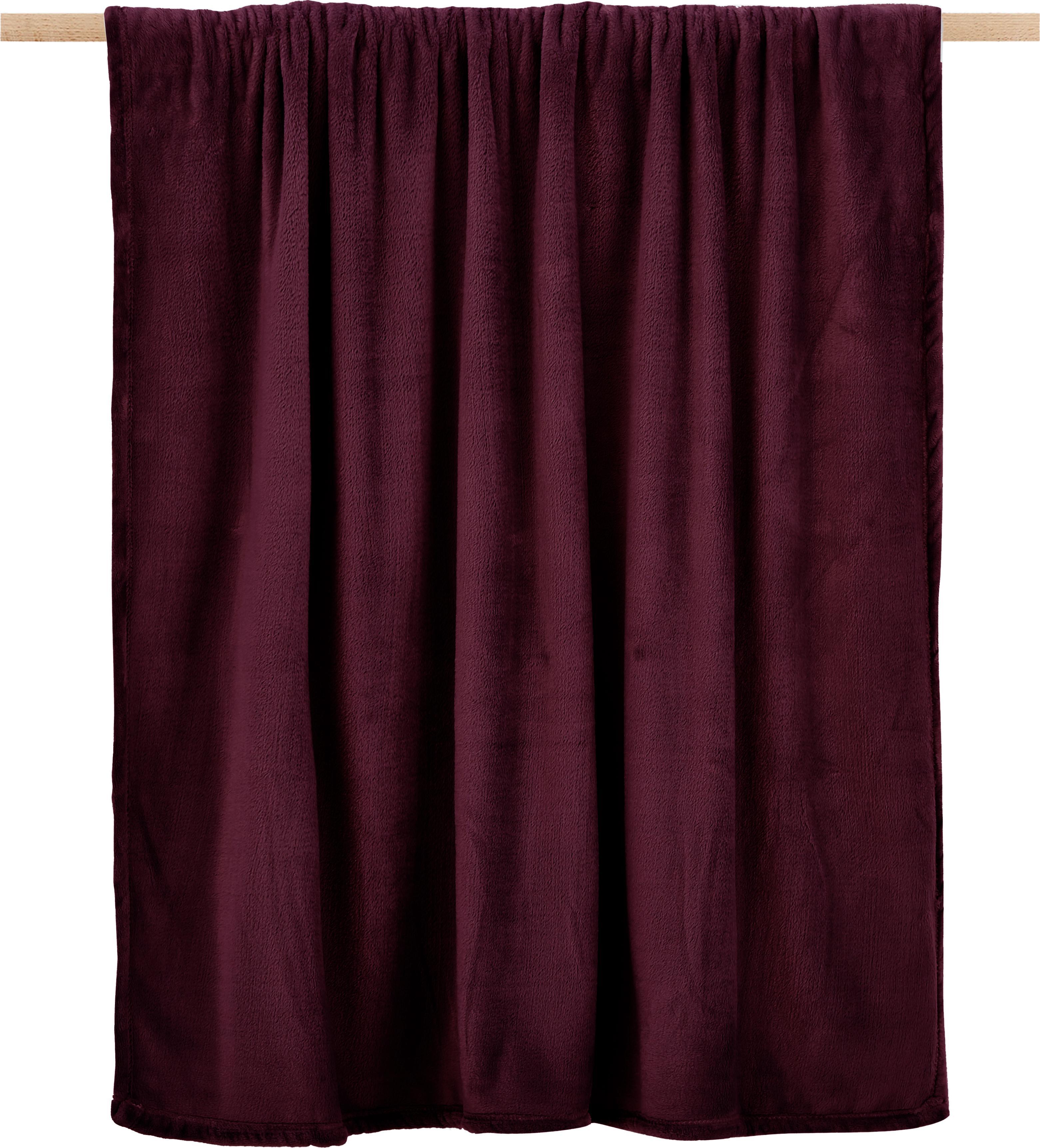 Manta de tela polar Doudou, 100%poliéster, Color vino, An 125 x L 160 cm