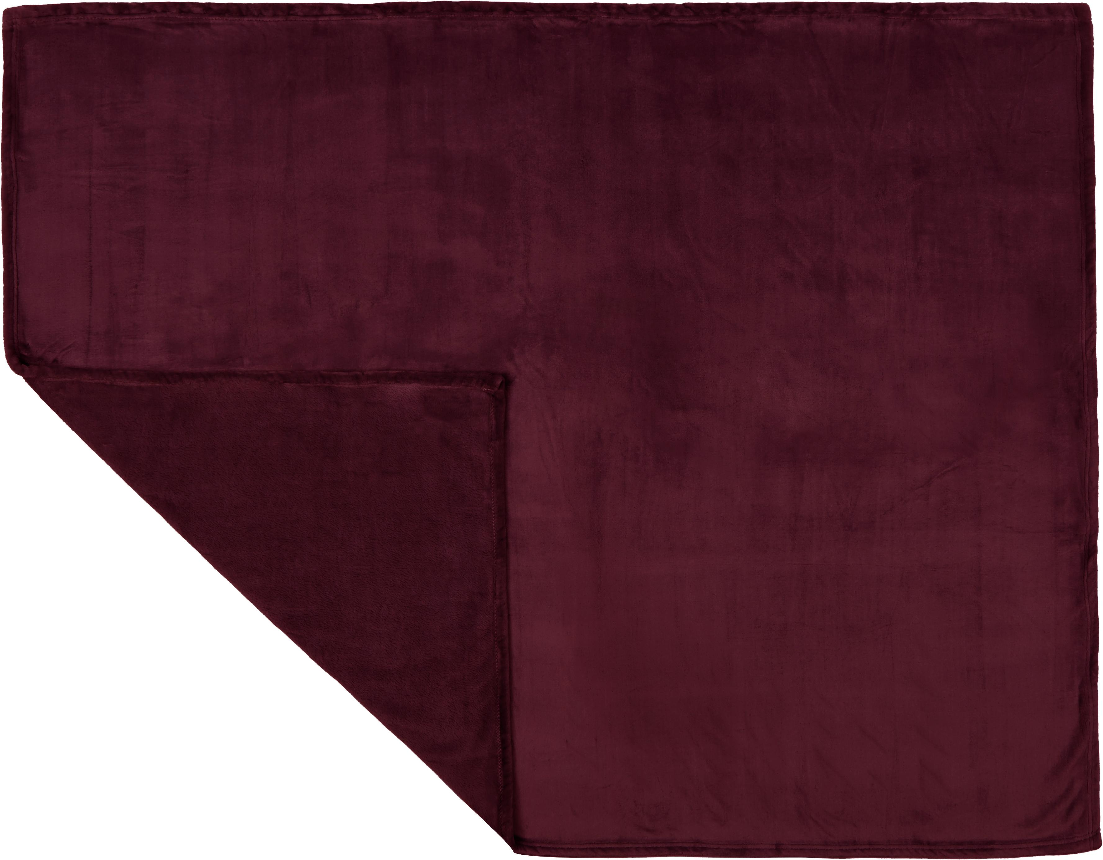 Plaid in morbido pile rosso vino Doudou, 100% poliestere, Vino rosso, Larg. 130 x Lung. 160 cm
