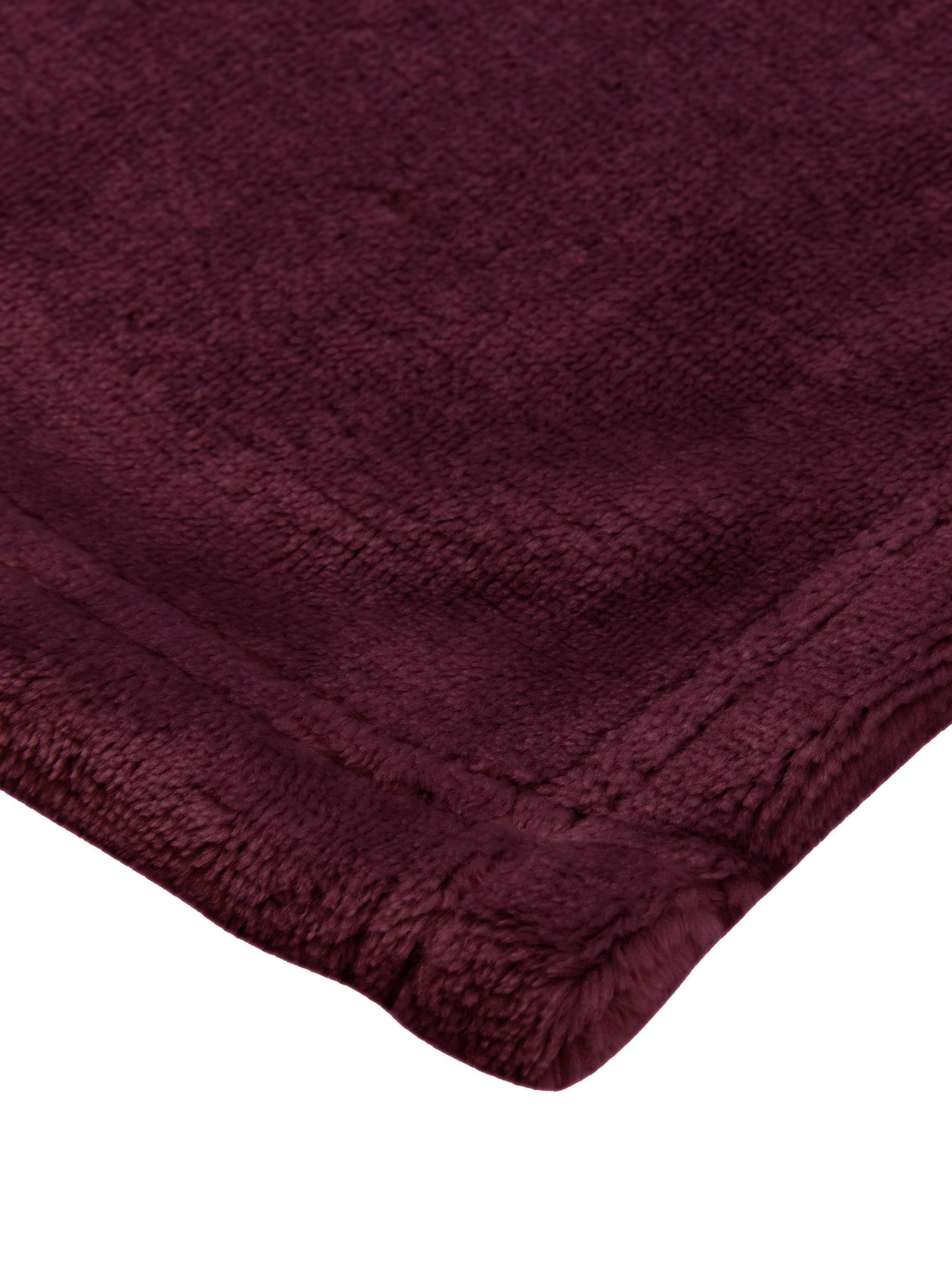 Weiches Fleece-Plaid Doudou in Weinrot, 100% Polyester, Weinrot, 130 x 160 cm