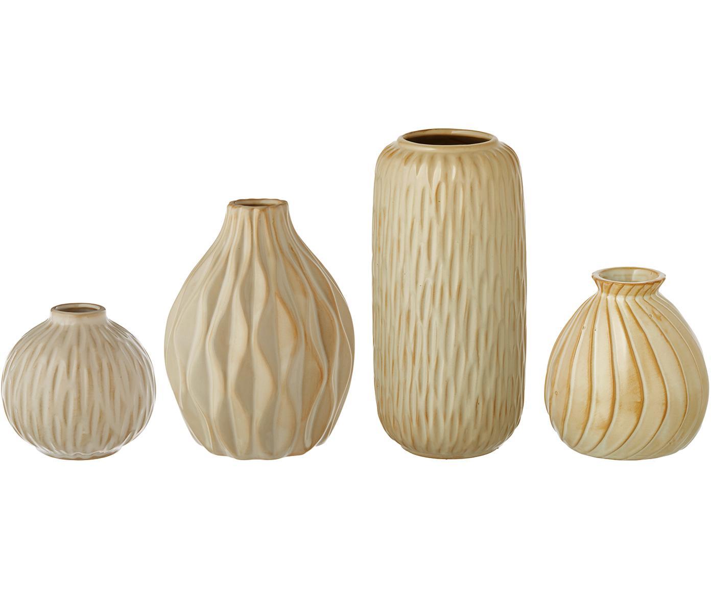 Set de jarrones de porcelana Zalina, 4pzas., Porcelana, Crema, beige, Tamaños diferentes