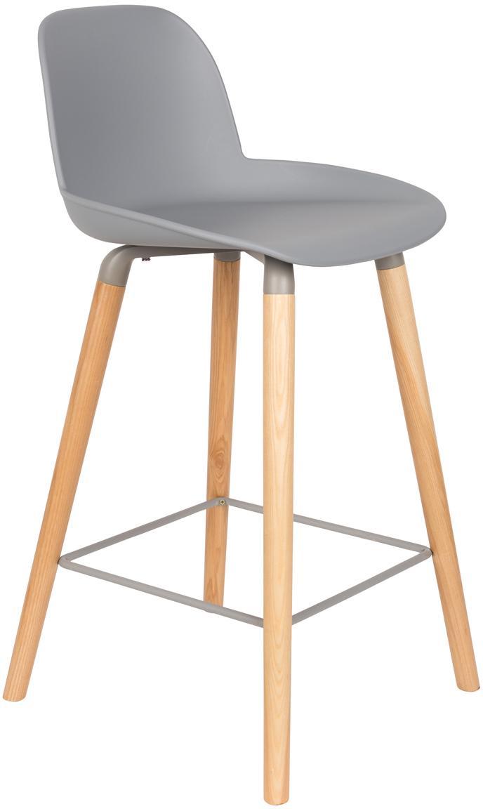 Krzesło kontuarowe Albert Kuip, Nogi: drewno dębowe, Siedzisko: jasny szary Nogi: drewno jesionowe Rama i podnóżek: szary, S 45 x W 89 cm