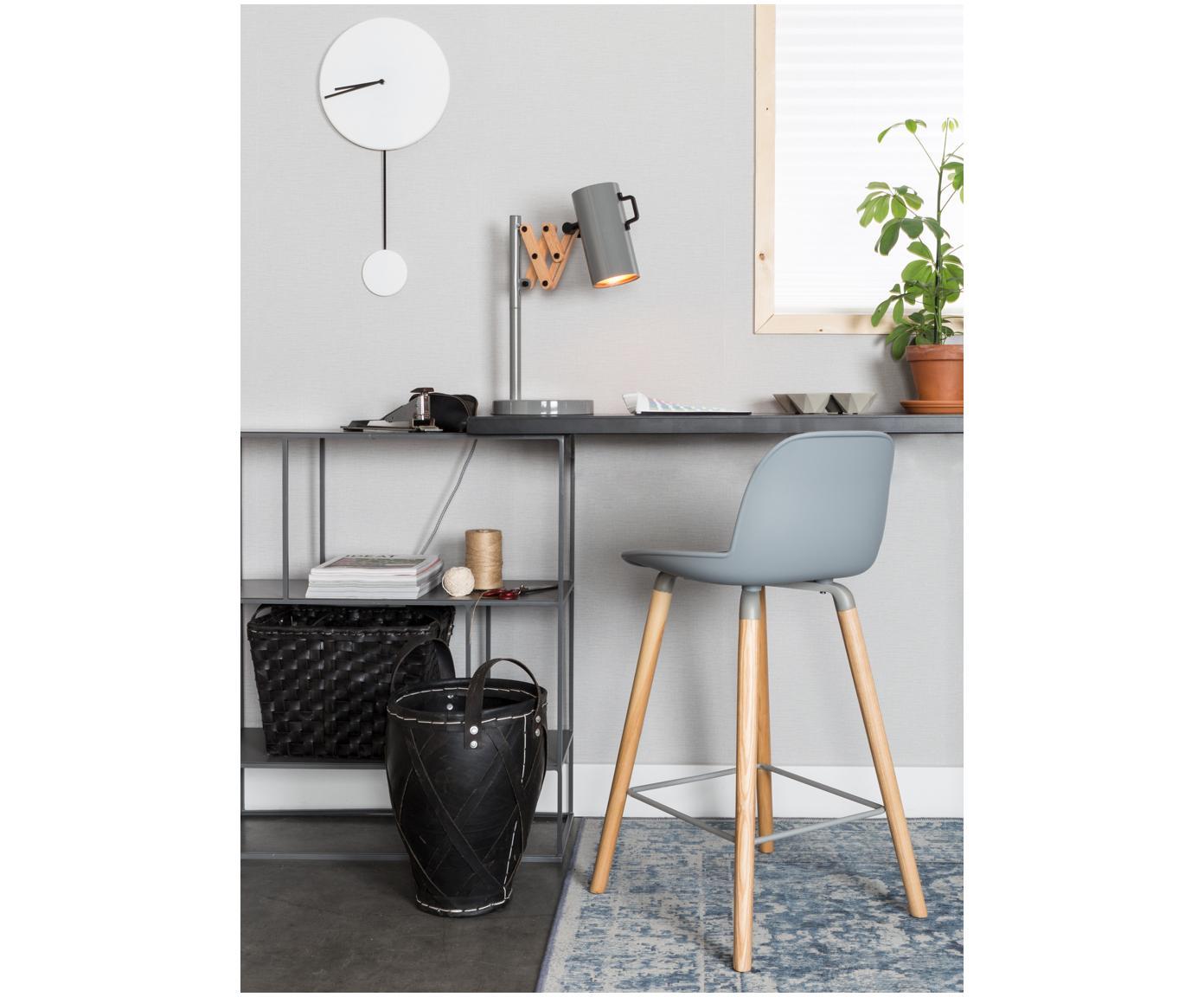 Design Barstuhl Albert Kuip, Beine: Eschenholz, Rahmen: Aluminium, Sitz: Hellgrau Beine: Esche Rahmen und Fußstütze: Grau, 45 x 89 cm