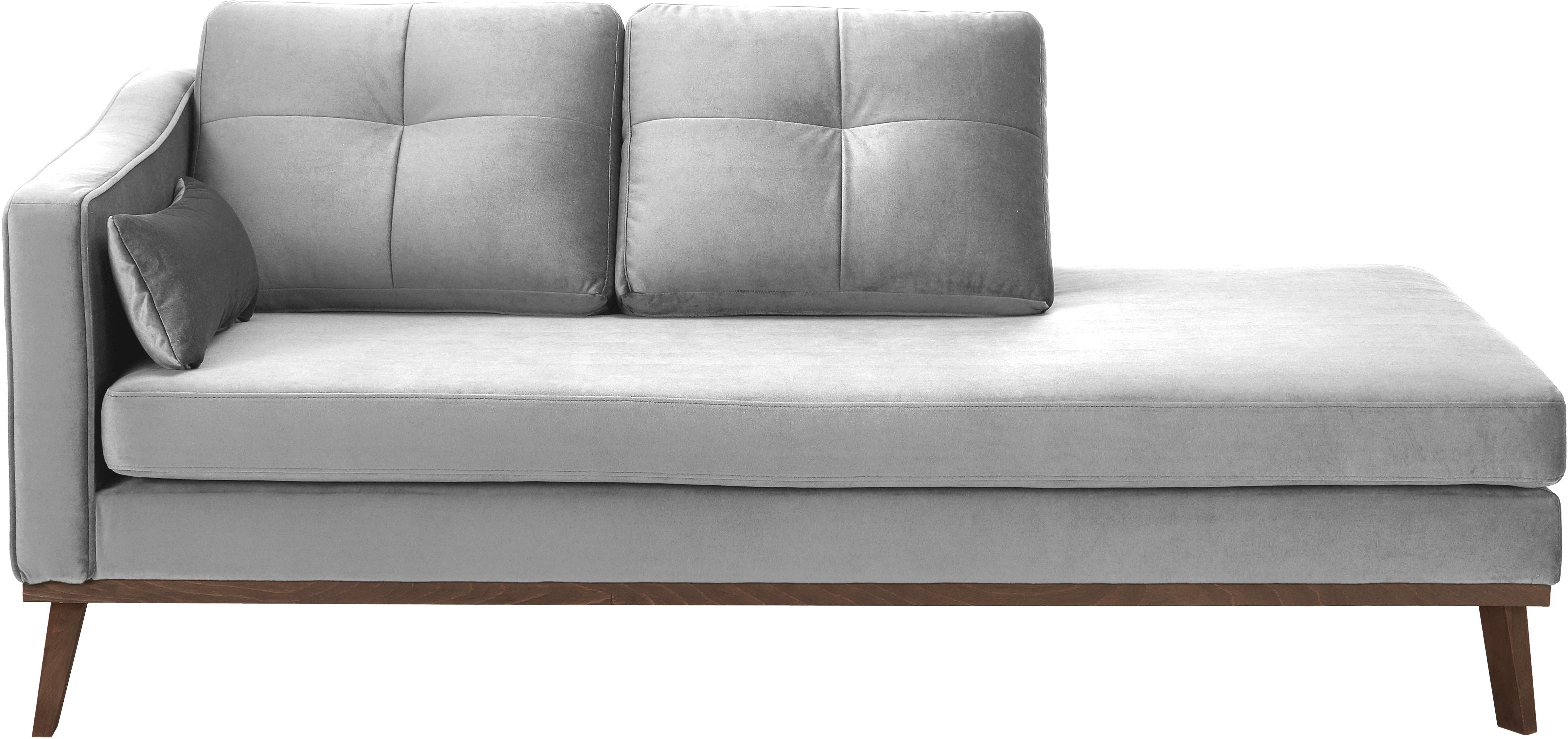 Fluwelen chaise longue Alva, Bekleding: fluweel (hoogwaardig poly, Frame: massief grenenhout, Poten: massief gebeitst beukenho, Grijs, B 193 x D 94 cm