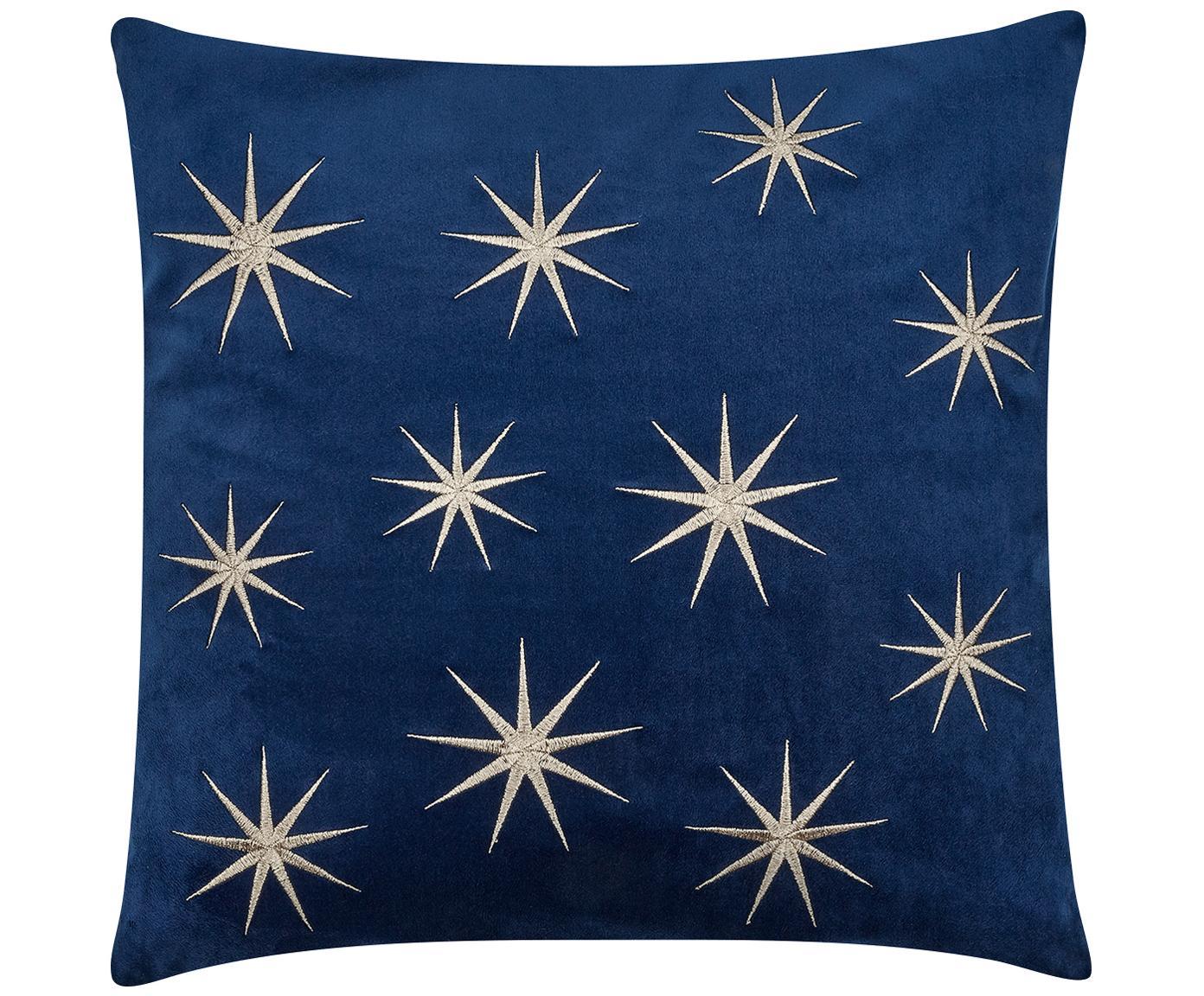 Bestickte Samt-Kissenhülle Stars mit winterlichen Sternenmotiven, Navyblau, 45 x 45 cm