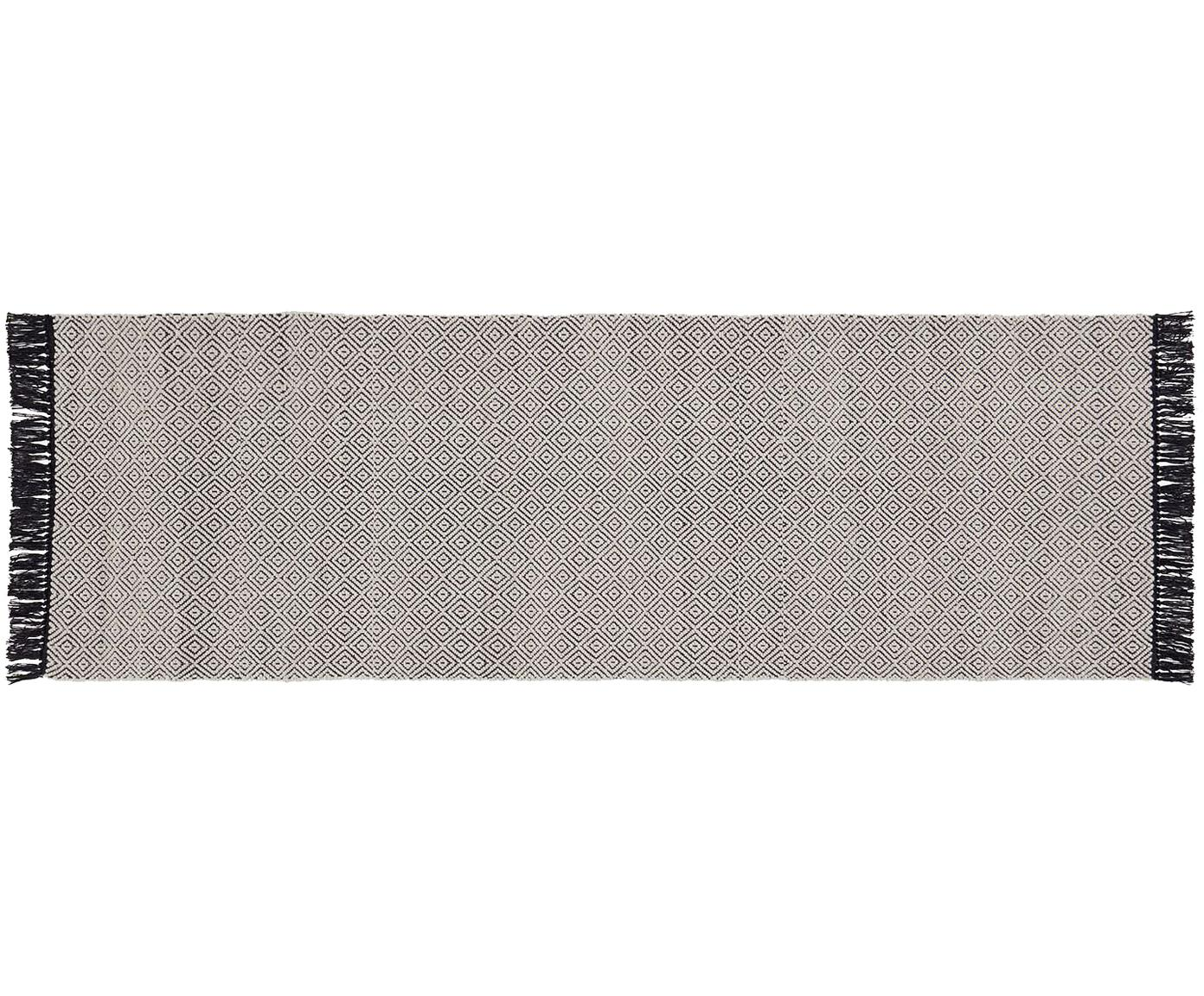 Loper Todos met grafisch patroon, 40% katoen, 30% wol, 30% polyester, Greige, 80 x 250 cm