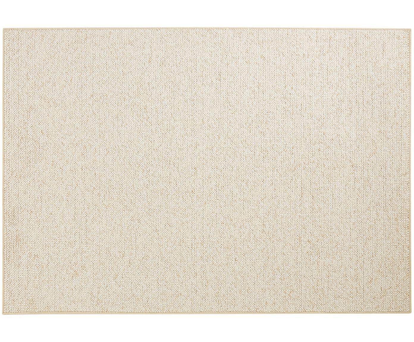 Alfombra redonda de tejido de bolitas Lyon, Parte superior: 100%polipropileno, Reverso: forro polar, Crema jaspeado, An 100 x L 140 cm (Tamaño XS)