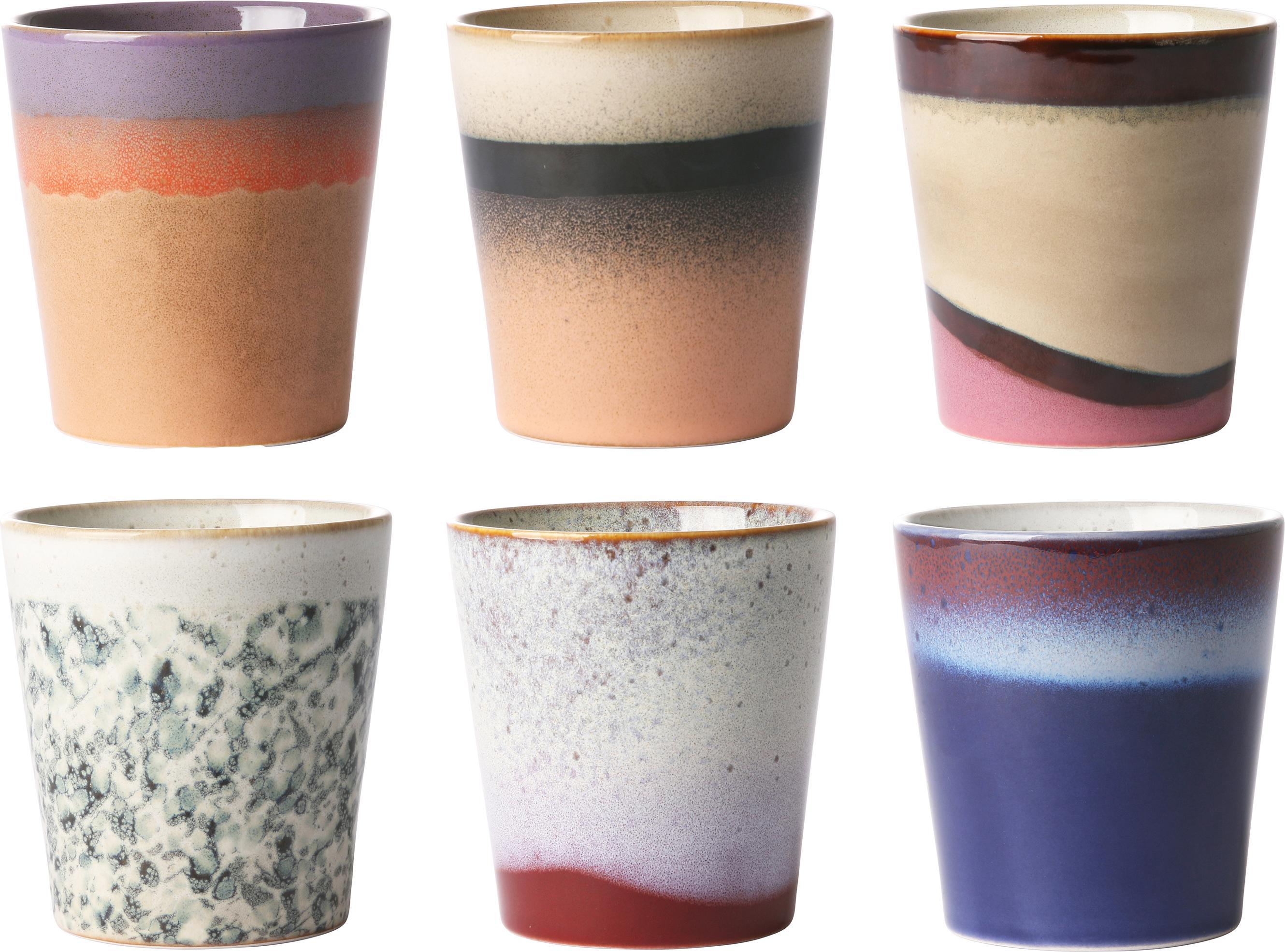Set 6 tazze fatte a mano Becher, Ceramica, Multicolore, Ø 8 x Alt. 8 cm