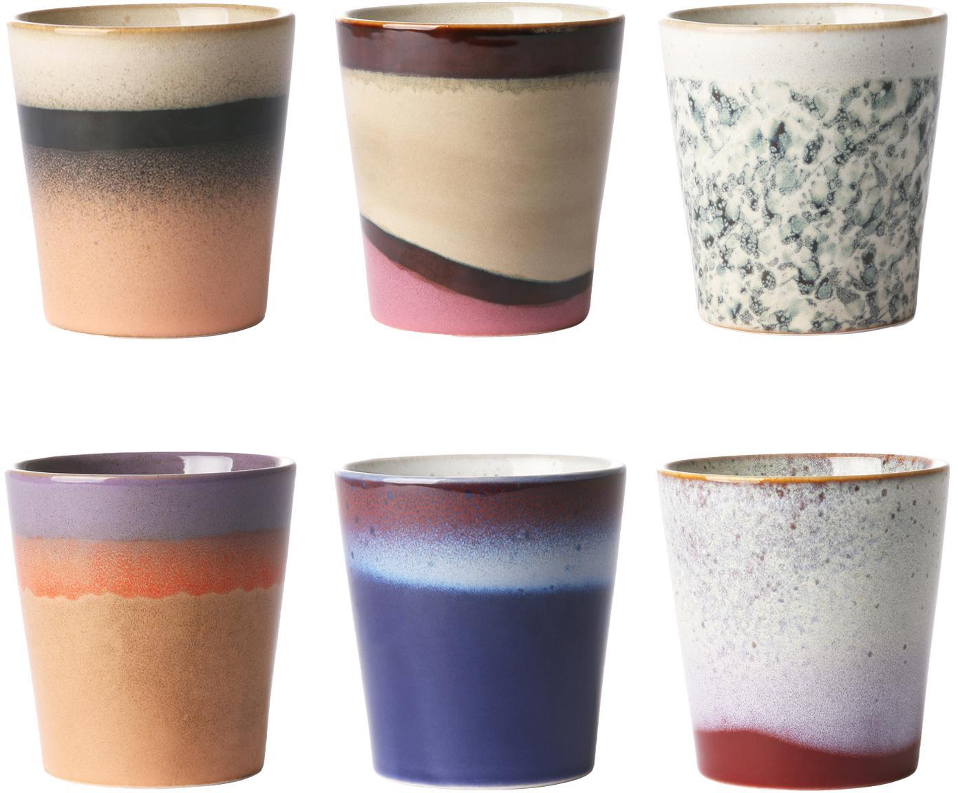 Handgemachtes XS Becher-Set 70's, 6-tlg., Keramik, Mehrfarbig, Ø 8 x H 8 cm